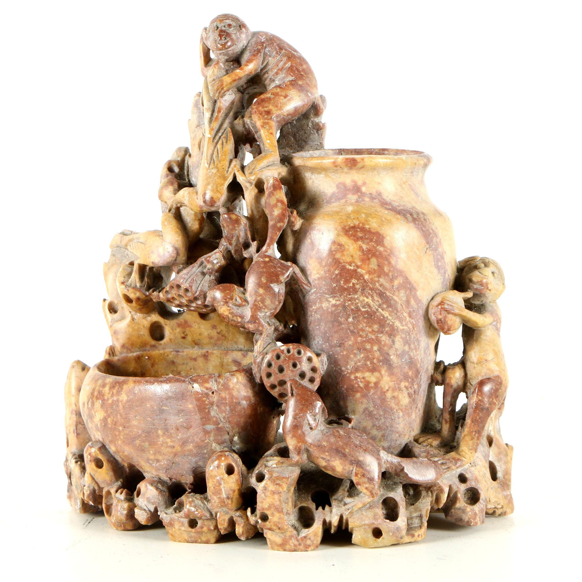 Chinese Soapstone Inkwell with Monkeys