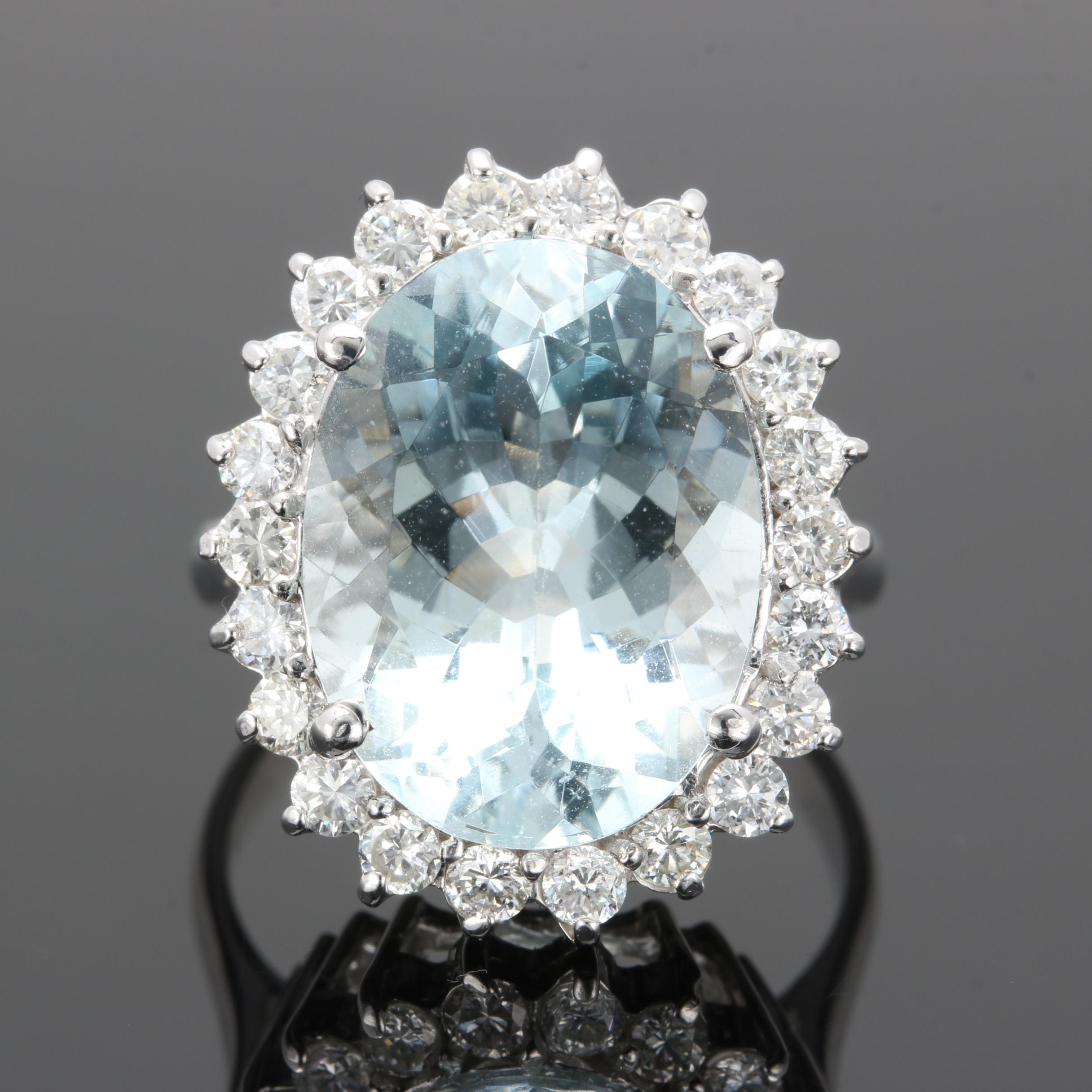 14K White Gold 8.30 CT Aquamarine and 0.99 CTW Diamond Ring