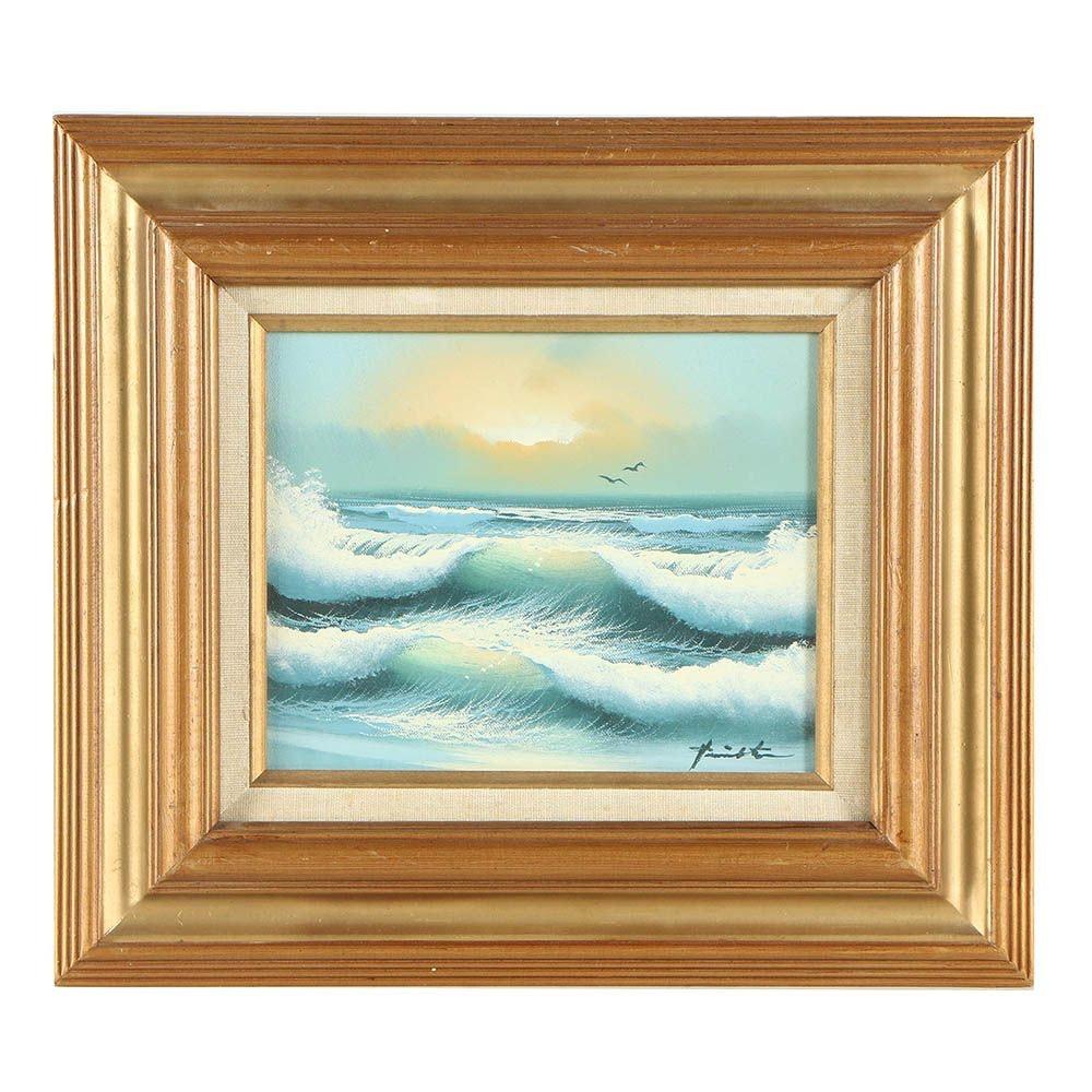 Vintage Oil Painting of Ocean Waves
