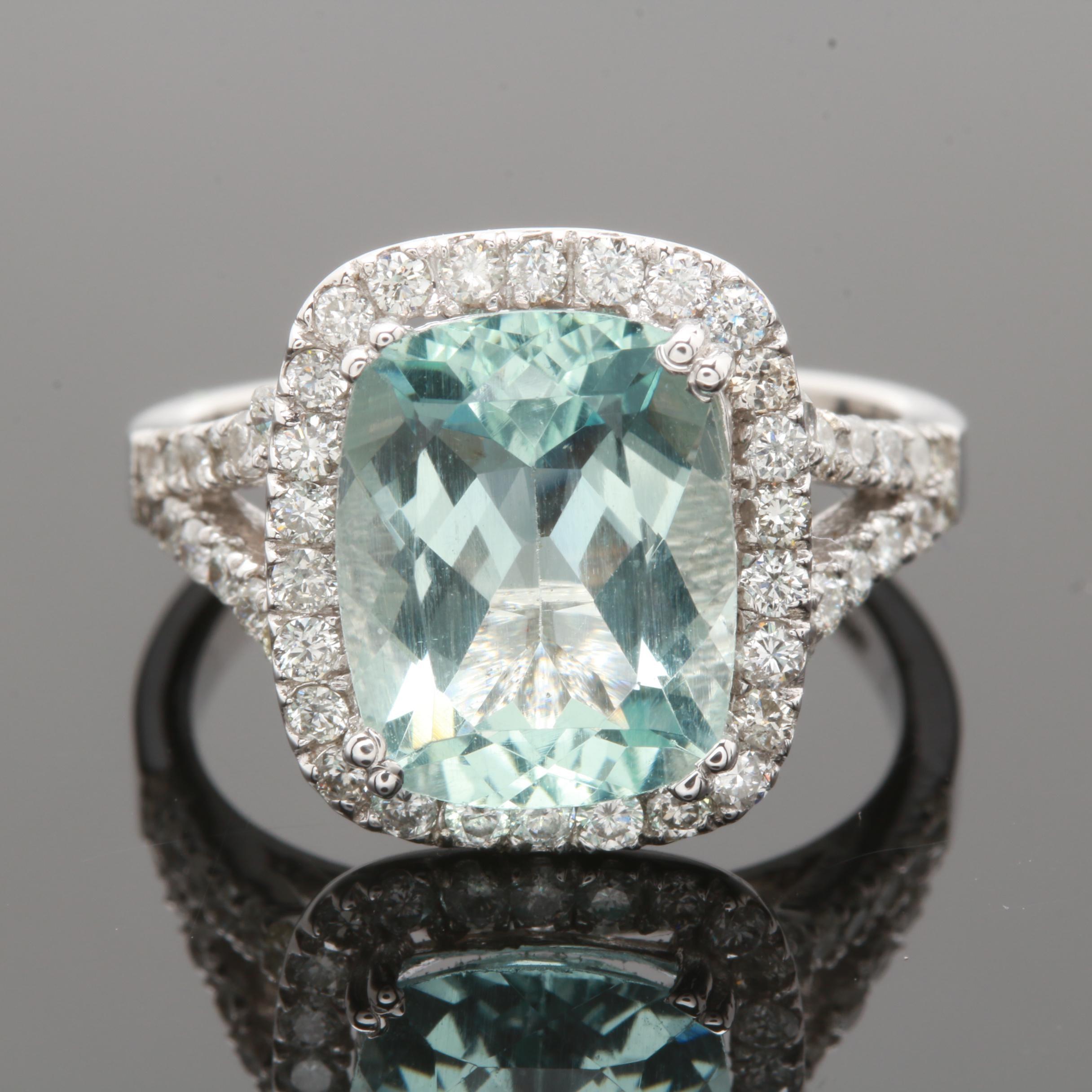14K White Gold 3.12 CT Aquamarine and Diamond Ring