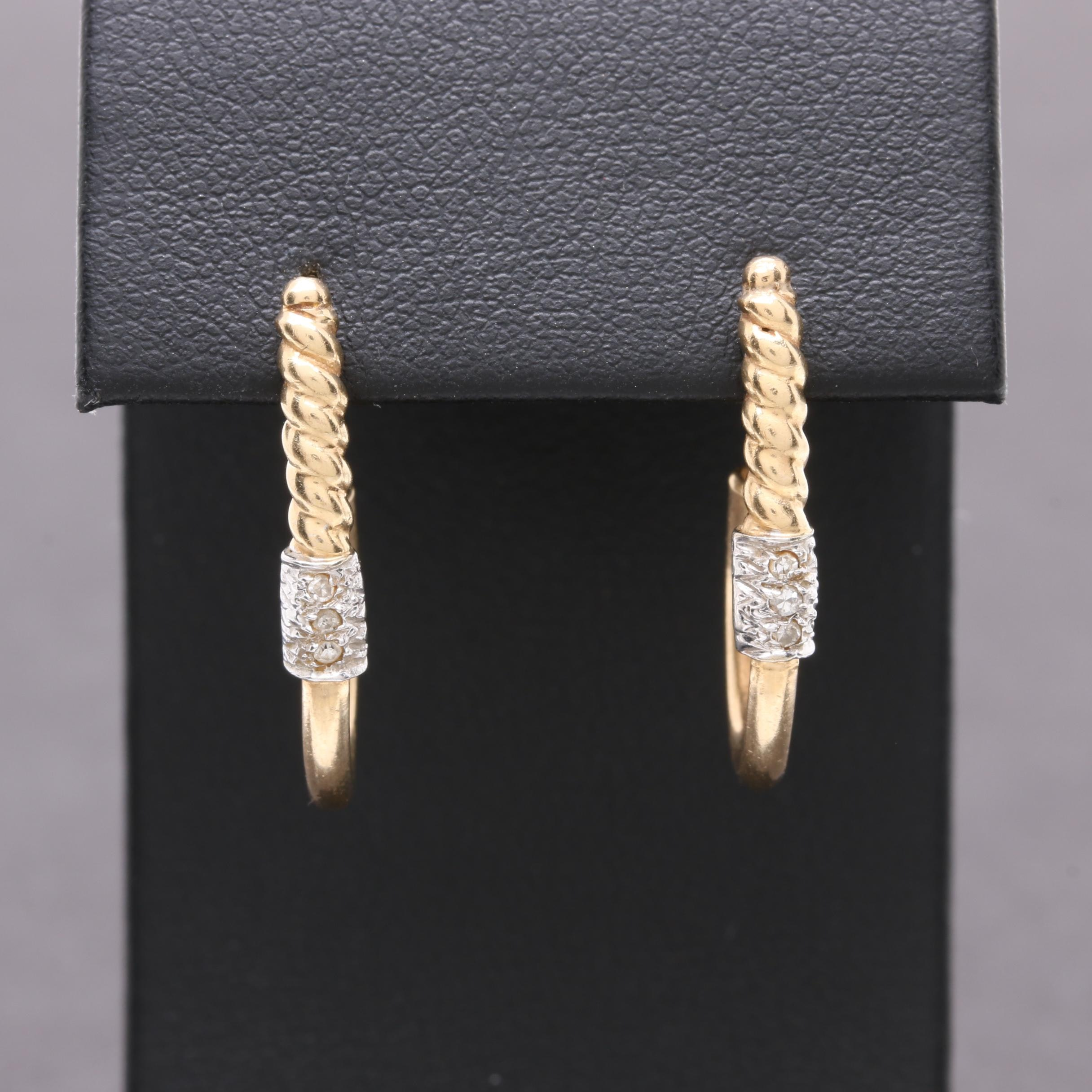 Ciani 14K Yellow Gold Diamond Earrings with 14K White Gold Accents