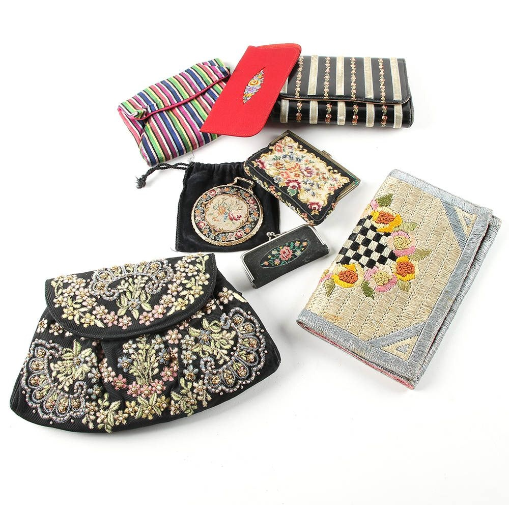 Vintage Embellished Clutches and Accessories Including Schildkraut Petit Point