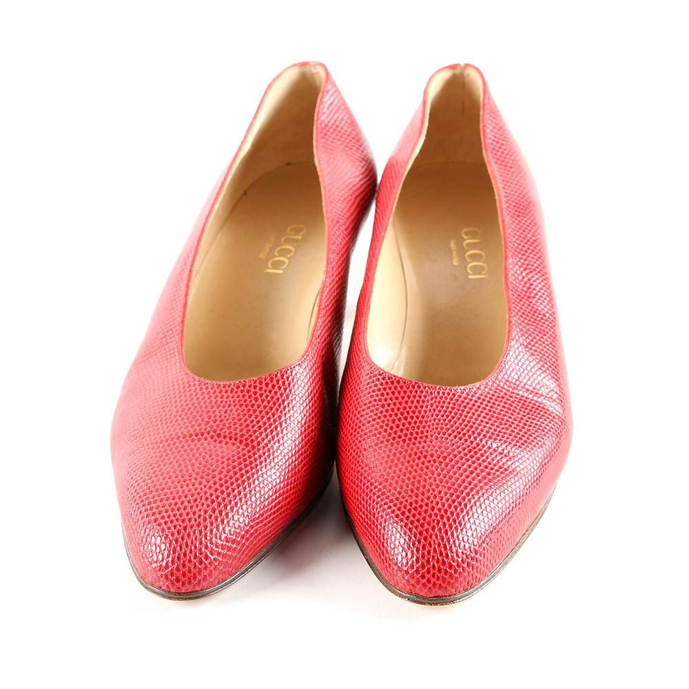 Vintage Gucci Dyed Red Lizard Skin Leather Pumps
