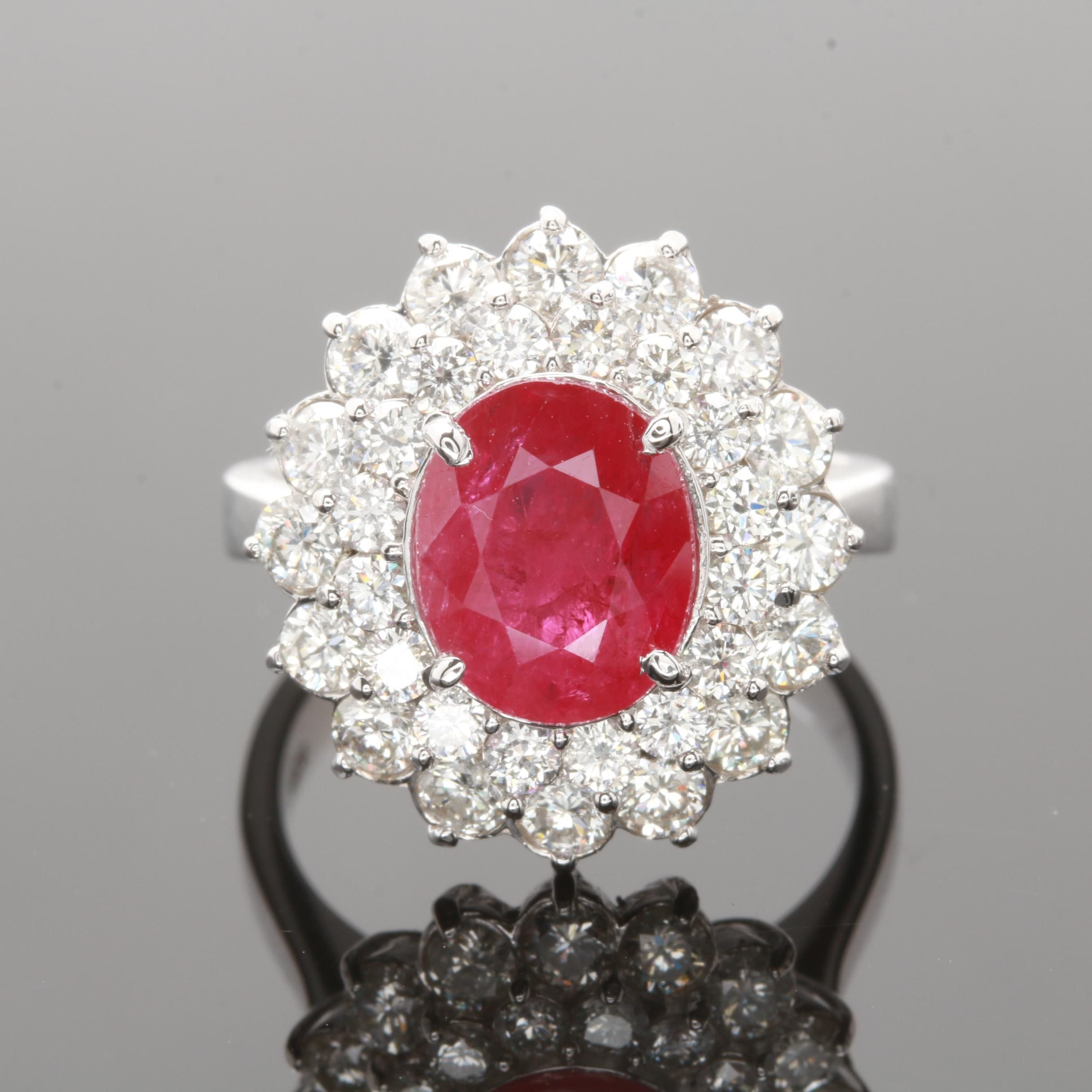 14K White Gold 2.55 CT Ruby and 1.76 CTW Diamond Ring