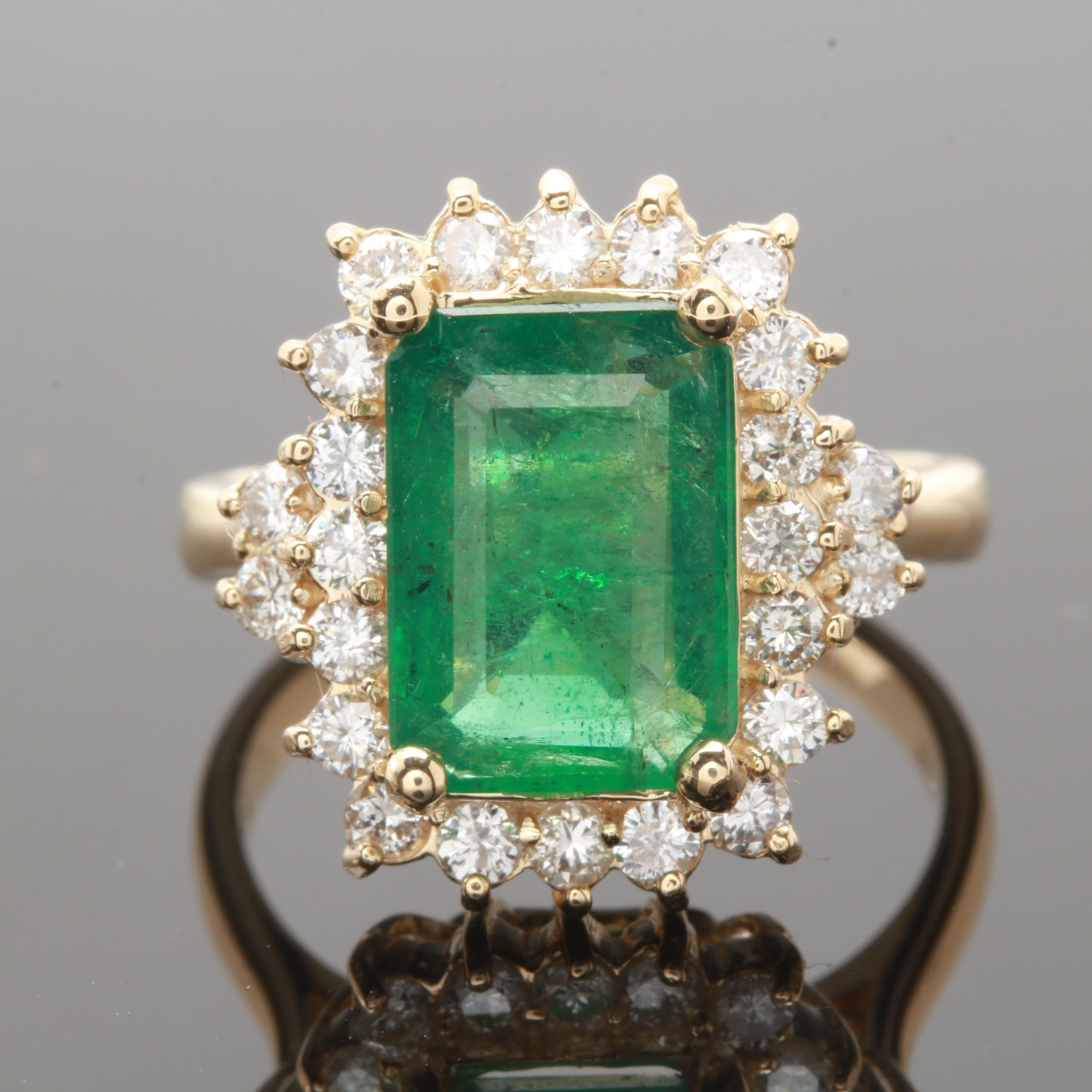 14K Yellow Gold 2.55 CT Emerald and Diamond Ring