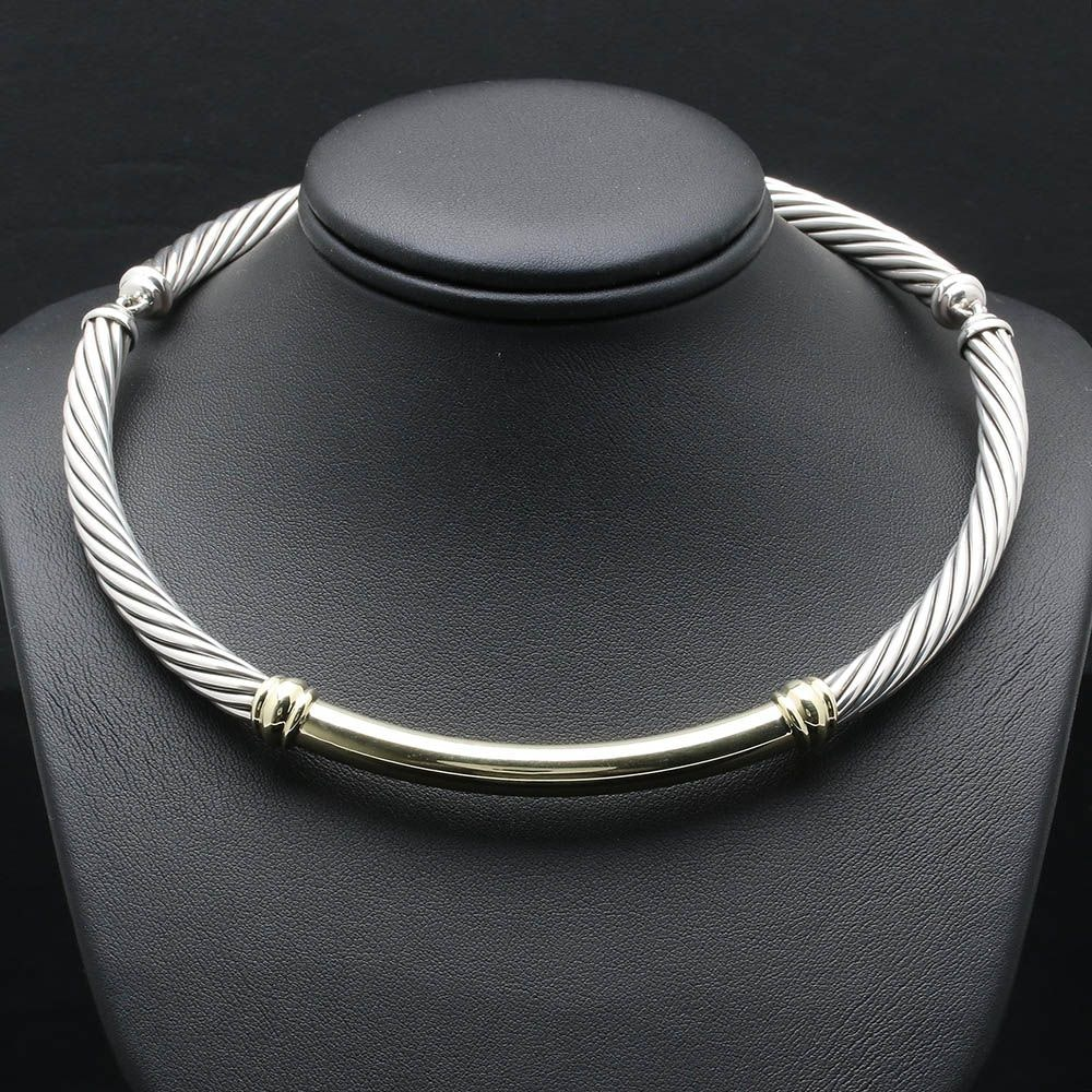 David Yurman Sterling Silver Twisted Link Necklace with 14K Yellow Gold Accents