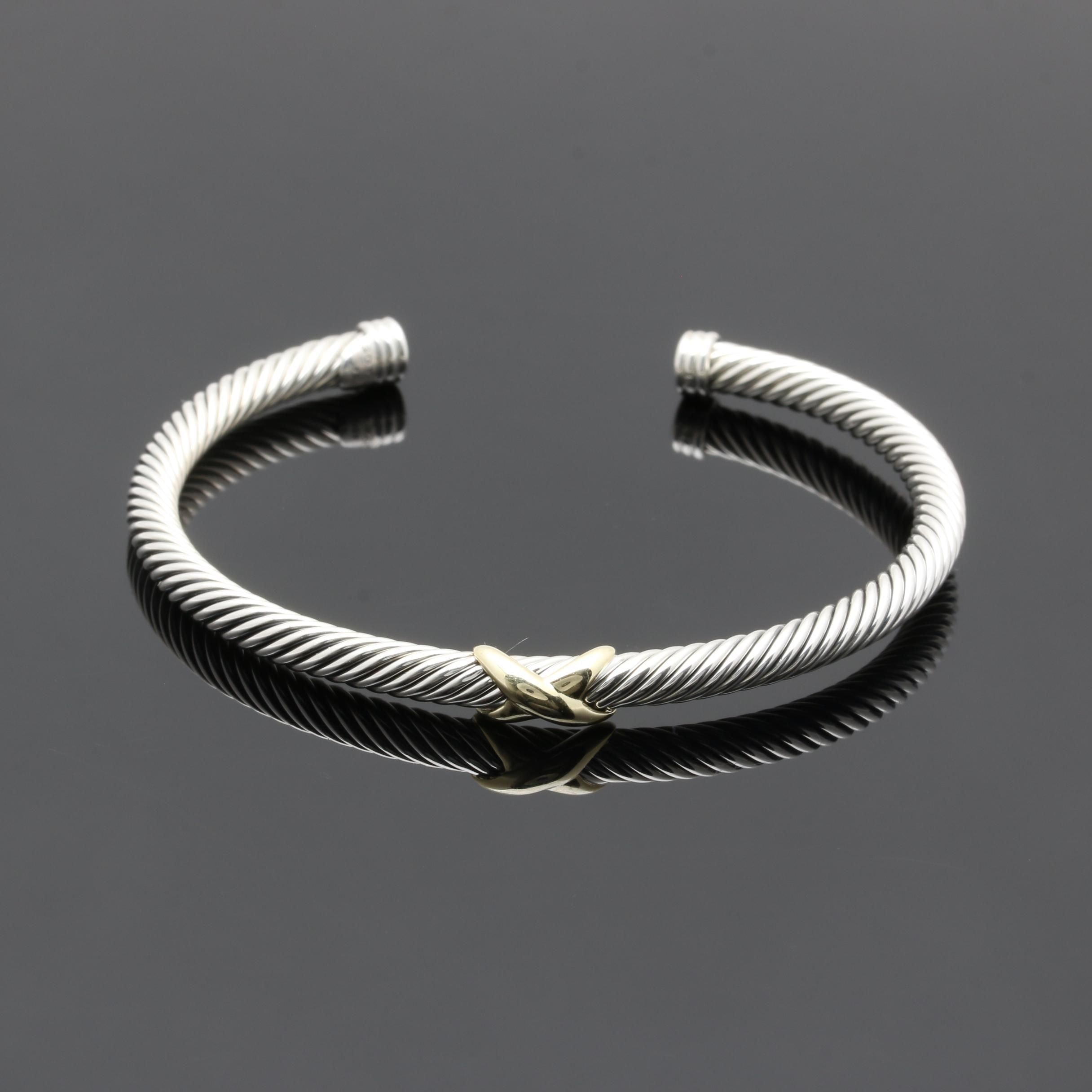 David Yurman Sterling Silver Twisted Cuff Bracelet with 18K Yellow Gold Accents