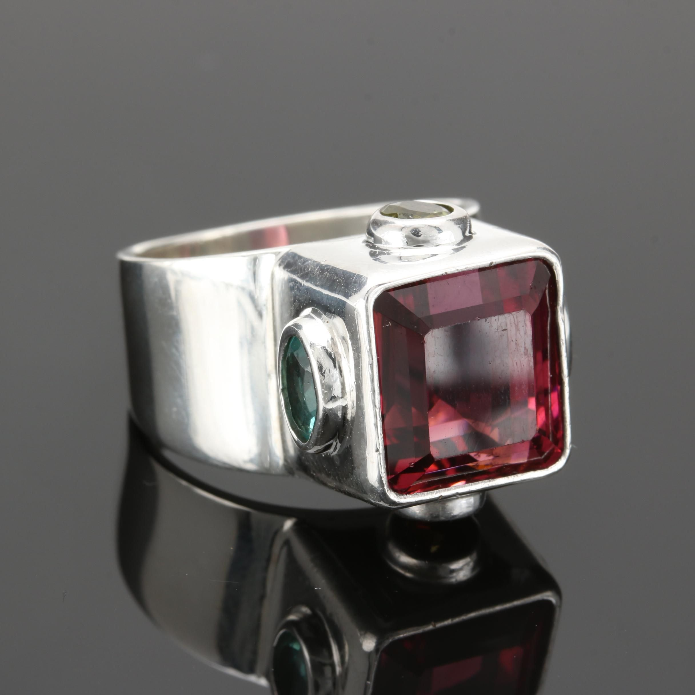 Obsidian Jewelry Sterling Silver Pink Tourmaline, Peridot and Apatite Ring