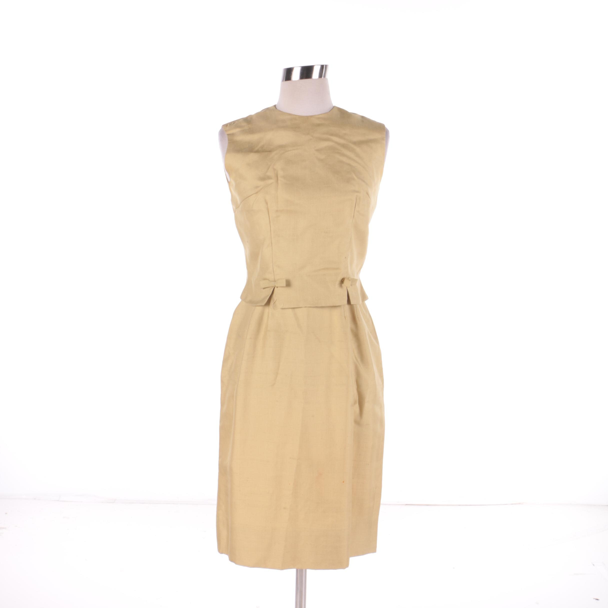 Women's Circa 1960s Vintage Two-Piece Raw Silk Dress