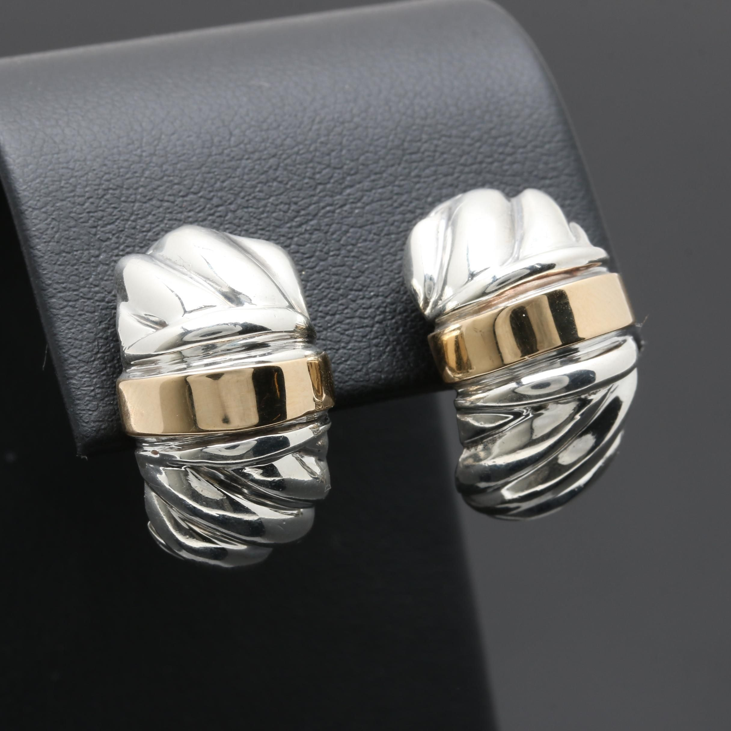 Sterling Silver Earrings with 14K Yellow Gold Accent