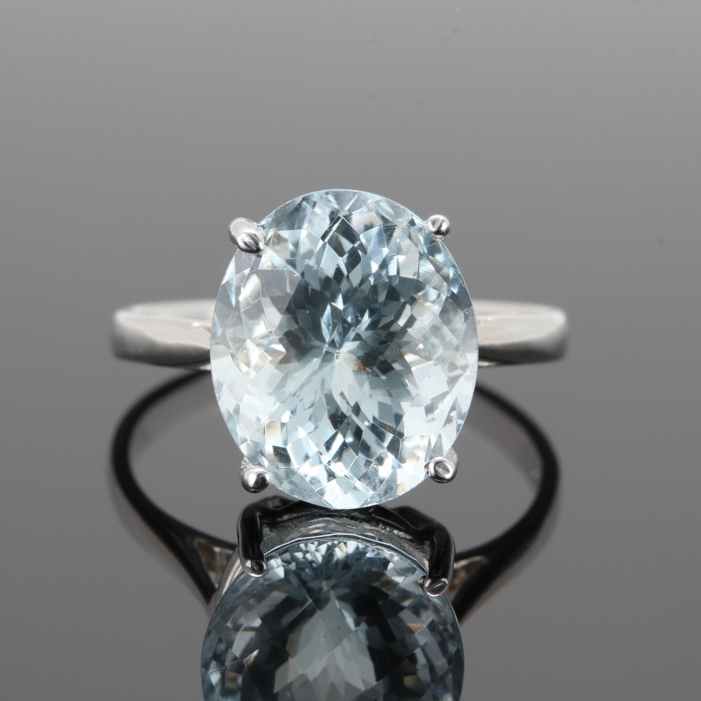 14K White Gold 5.34 CT Aquamarine Ring