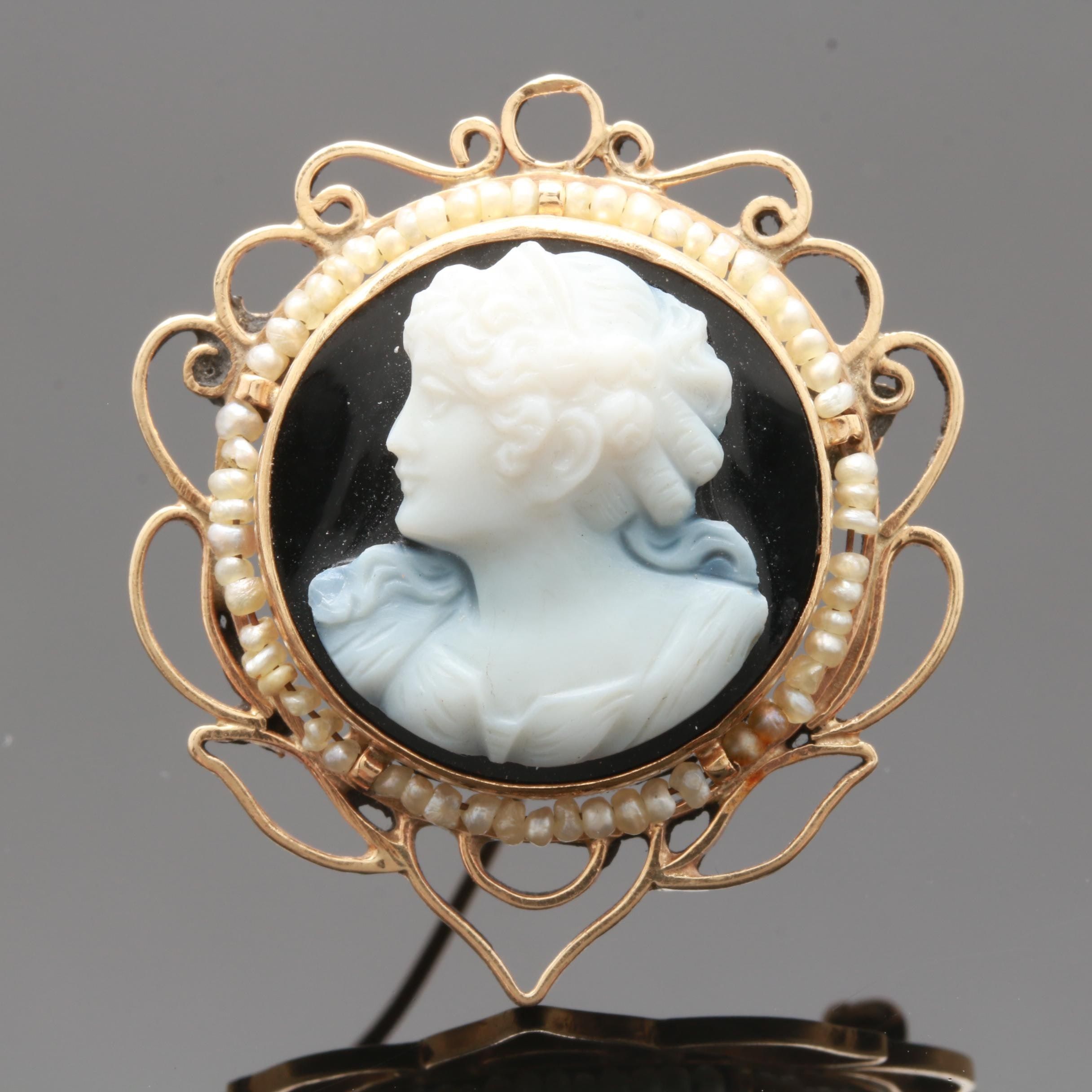 14K Yellow Gold Onyx and Seed Pearl Cameo Brooch