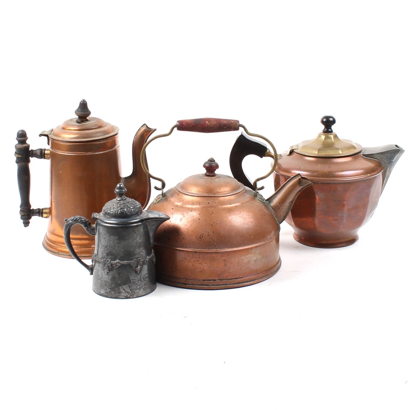 Copper Kettle Collection with Silver Plate Creamer