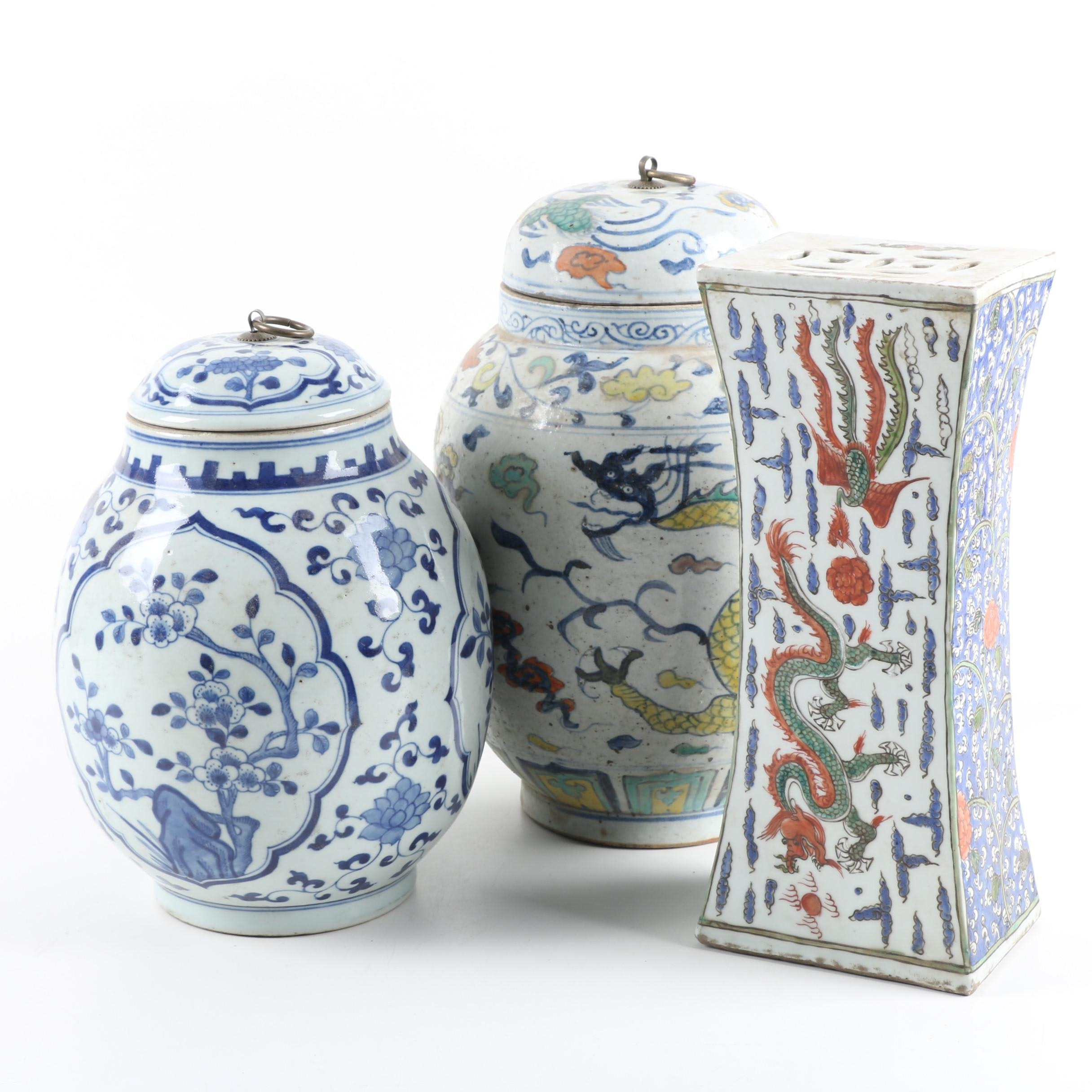 Chinese Ceramic Lidded Jars and Plant Stand