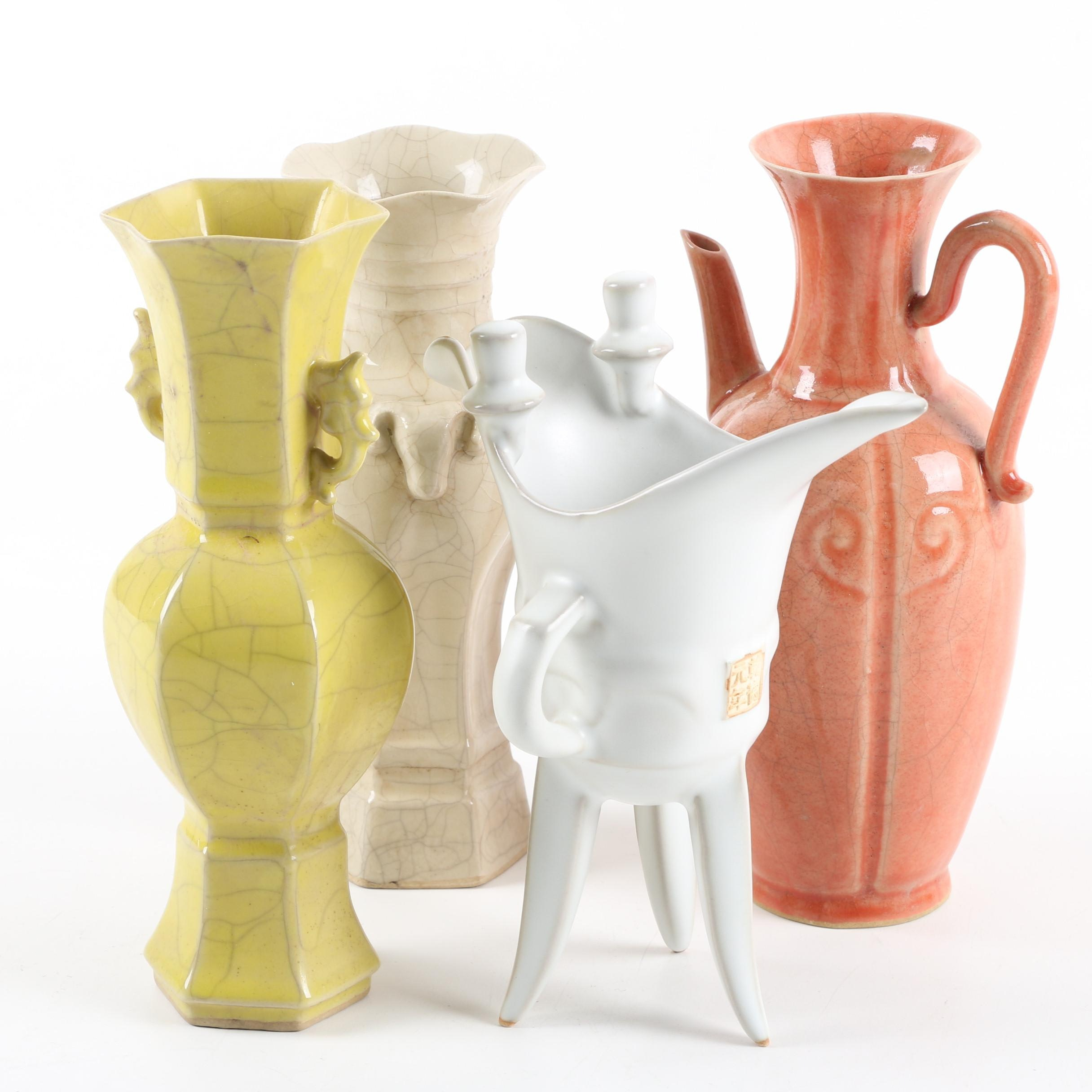 Chinese Ceramic Jue Style Vessel, Vases and Ewer