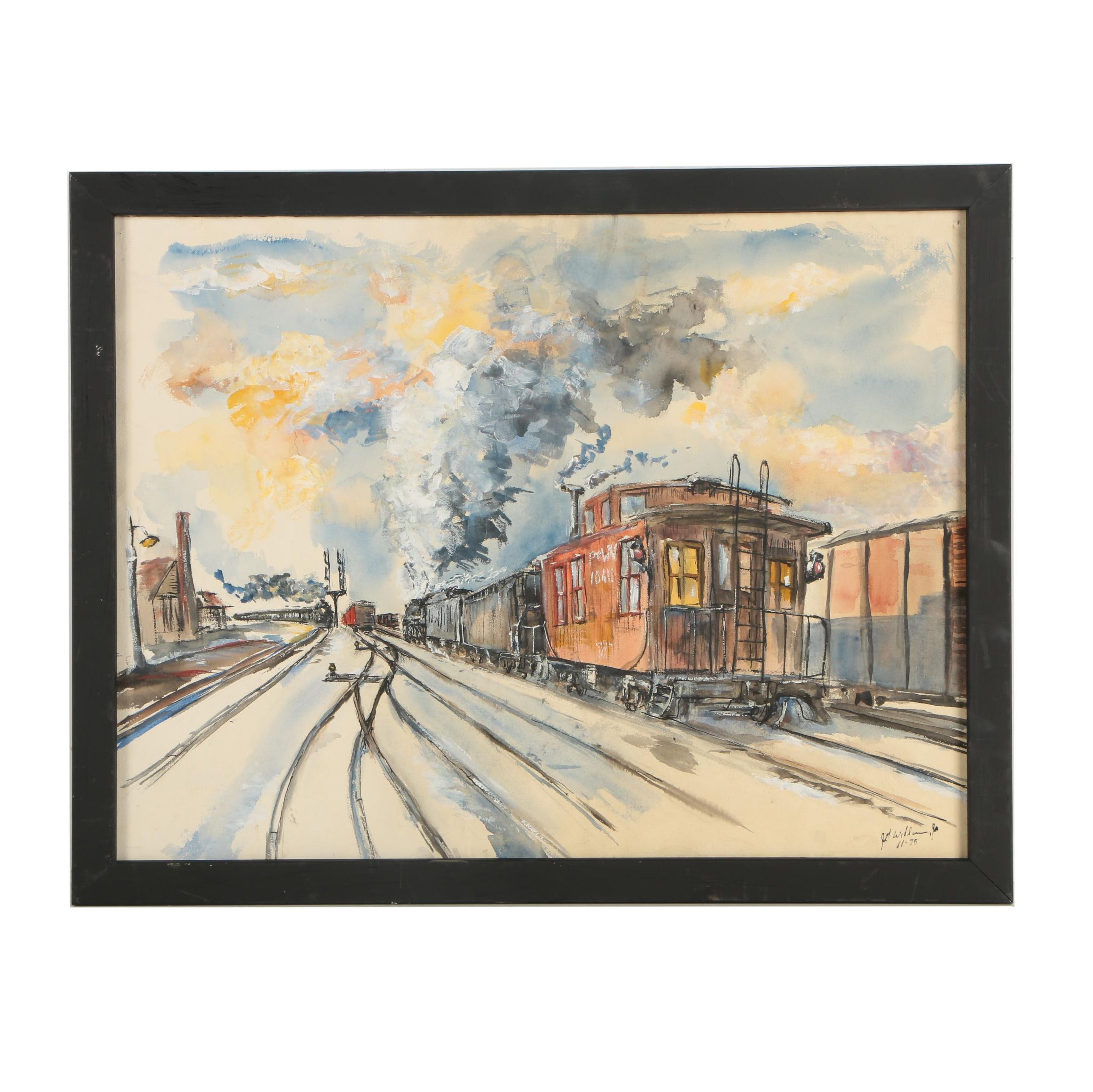 J.G. Williams 1975 Watercolor and Gouache Painting of Train Yard