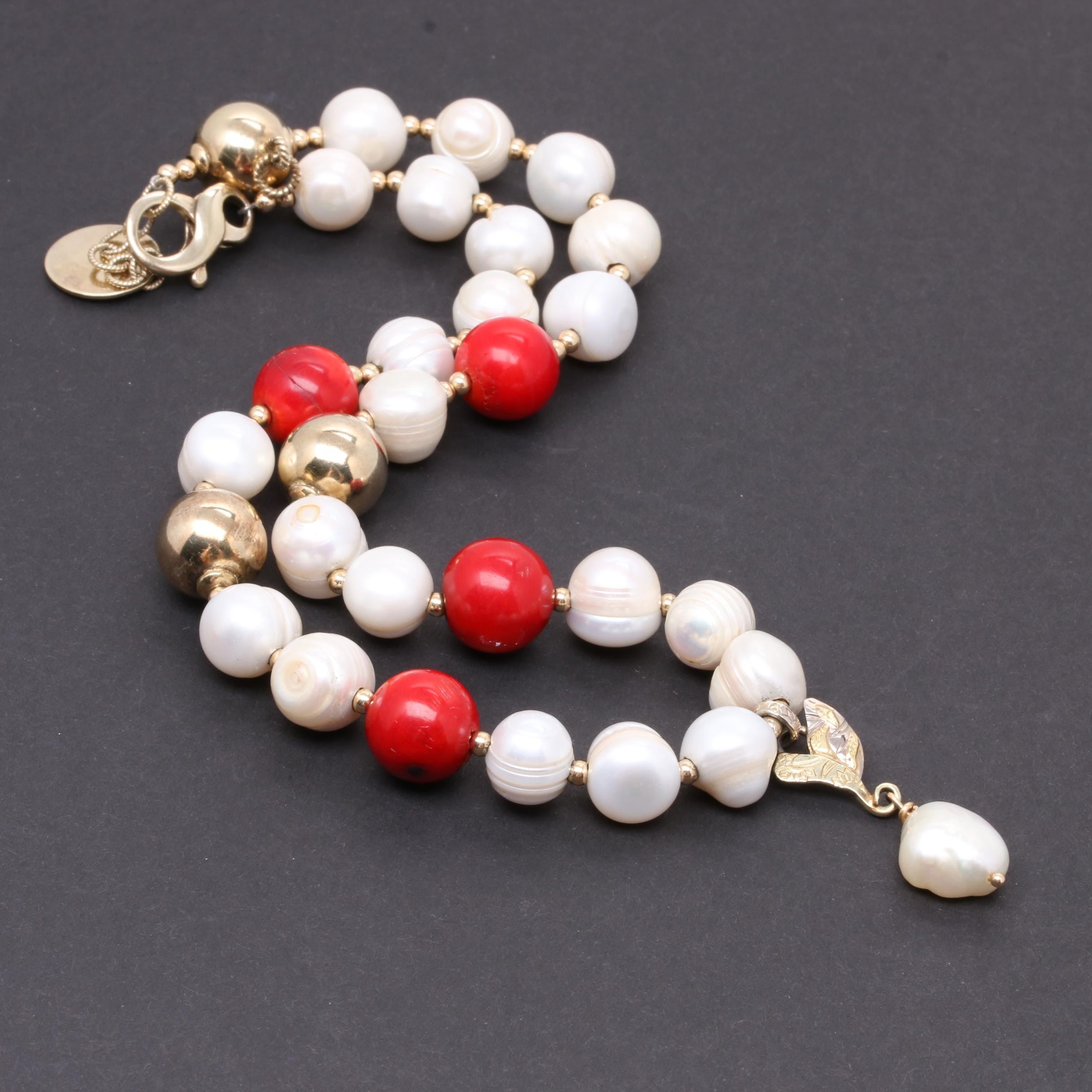 Del Brenna Sterling Silver Cultured Pearl and Coral Necklace with 14K Gold