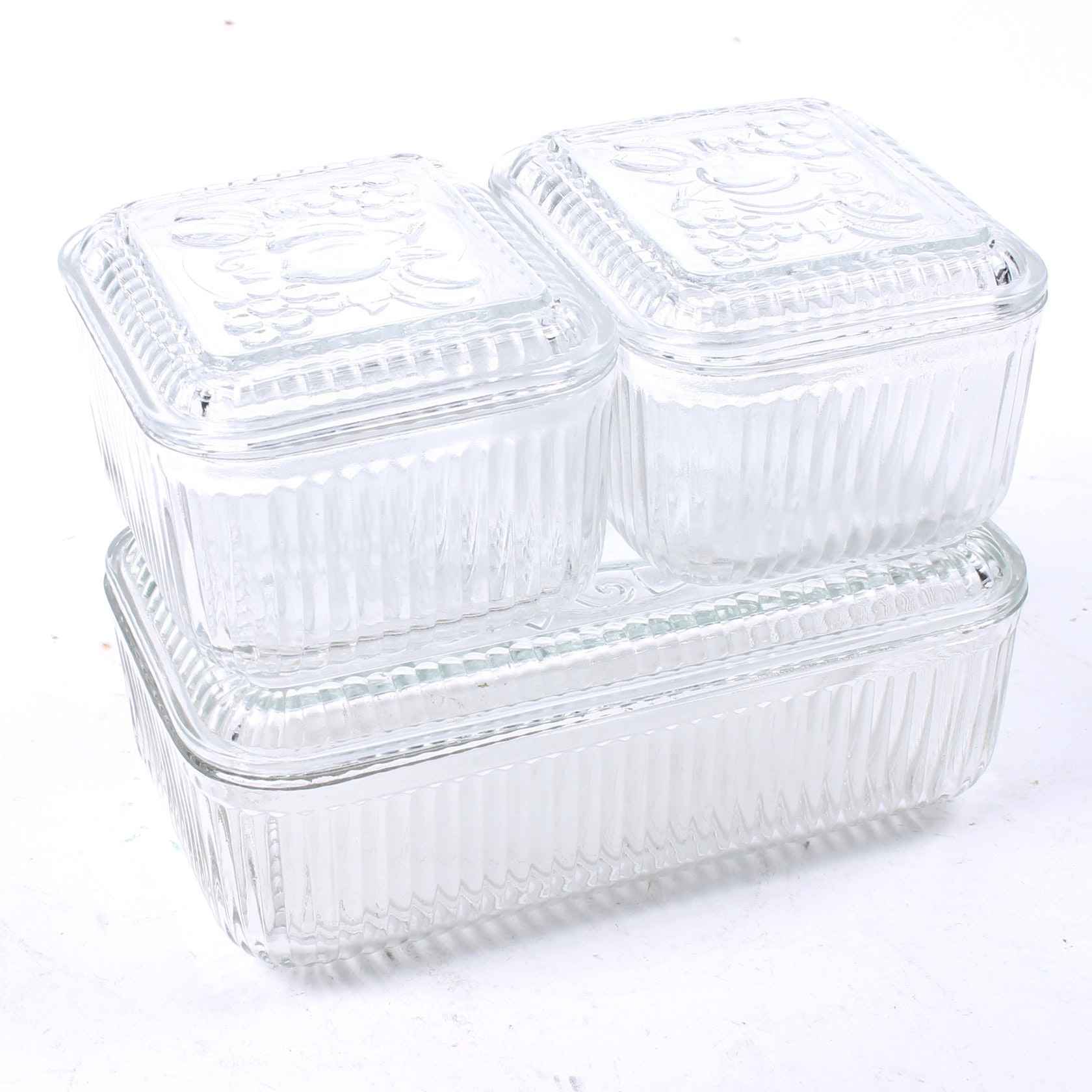 Vintage Glass Refrigerator Containers