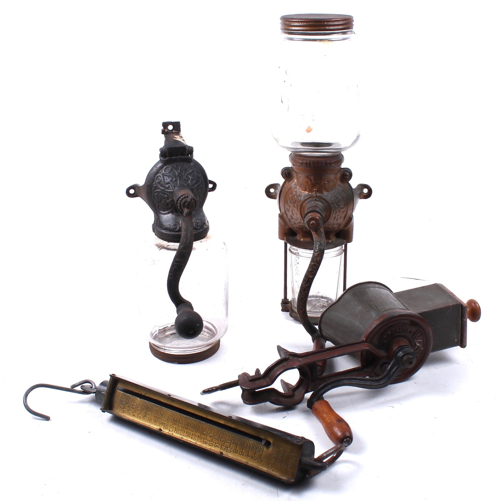 Antique Coffee Grinder, Scale, and Grater