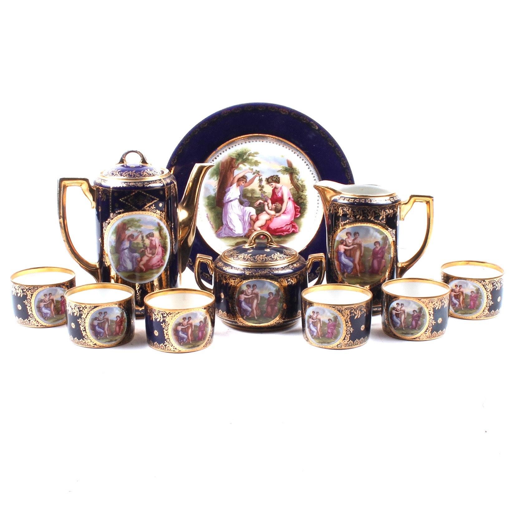 O&EG Royal Austria Cobalt Porcelain Tea Service