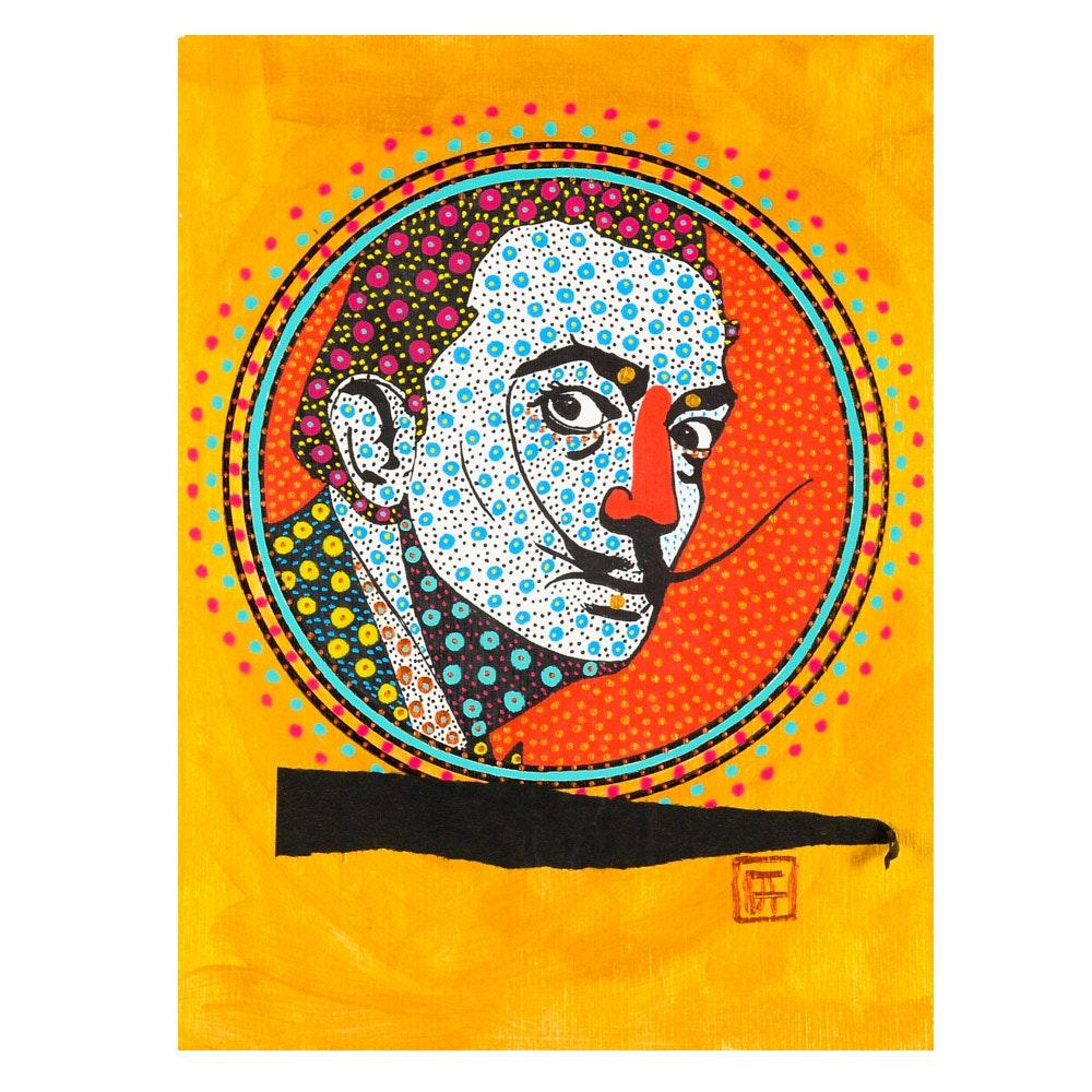 """Francois Aguiard Original Mixed Media Painting """"Salvador Dalí"""""""