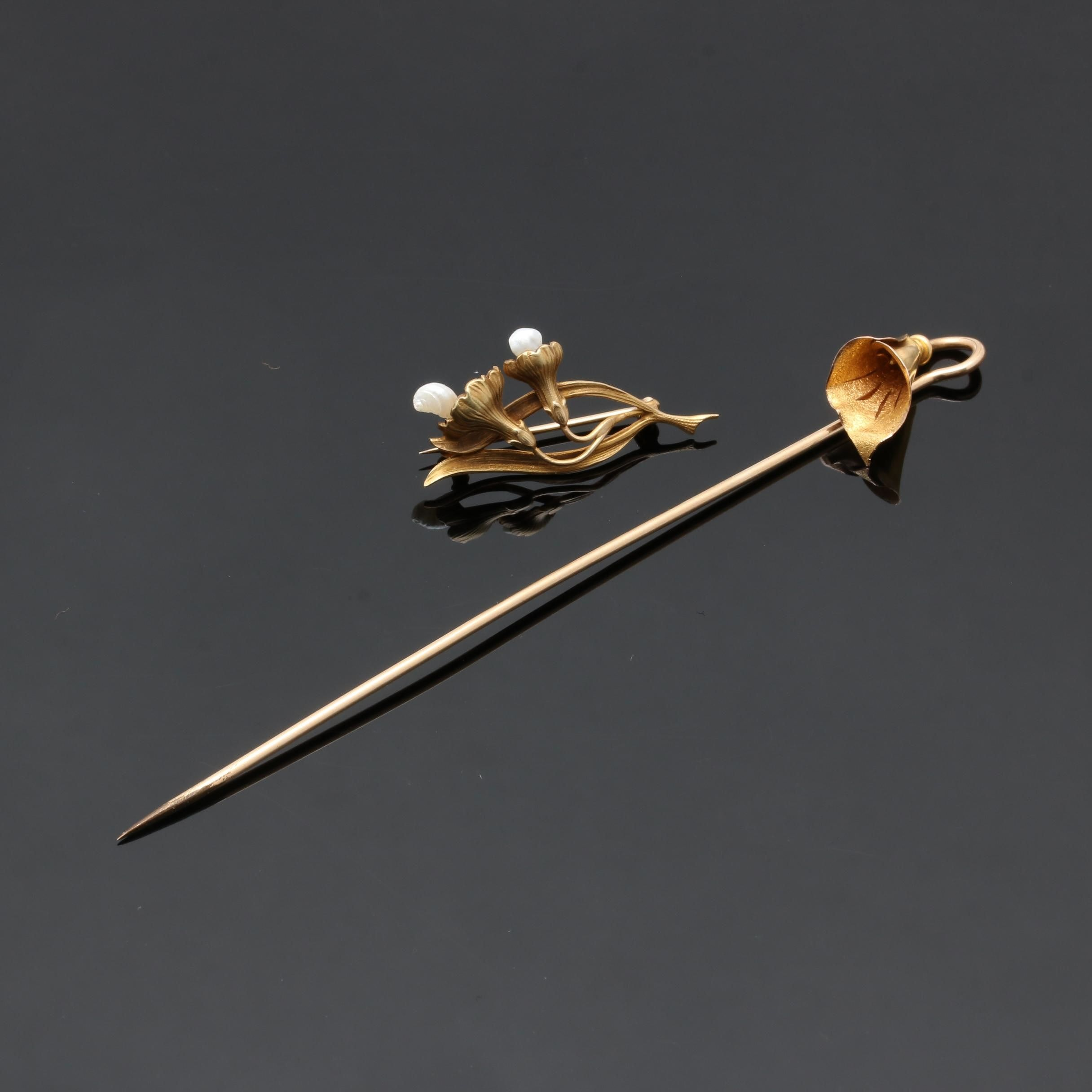 Art Nouveau 14K Yellow Gold Flower Brooch and Hat Pin