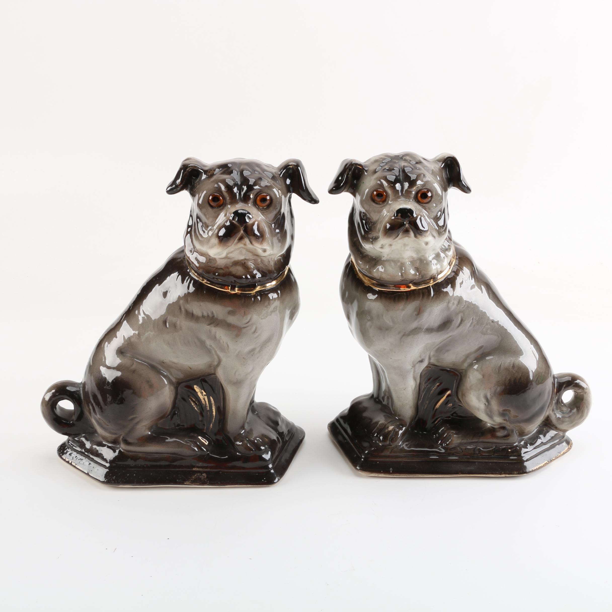 Glazed Ceramic Dog Figurines