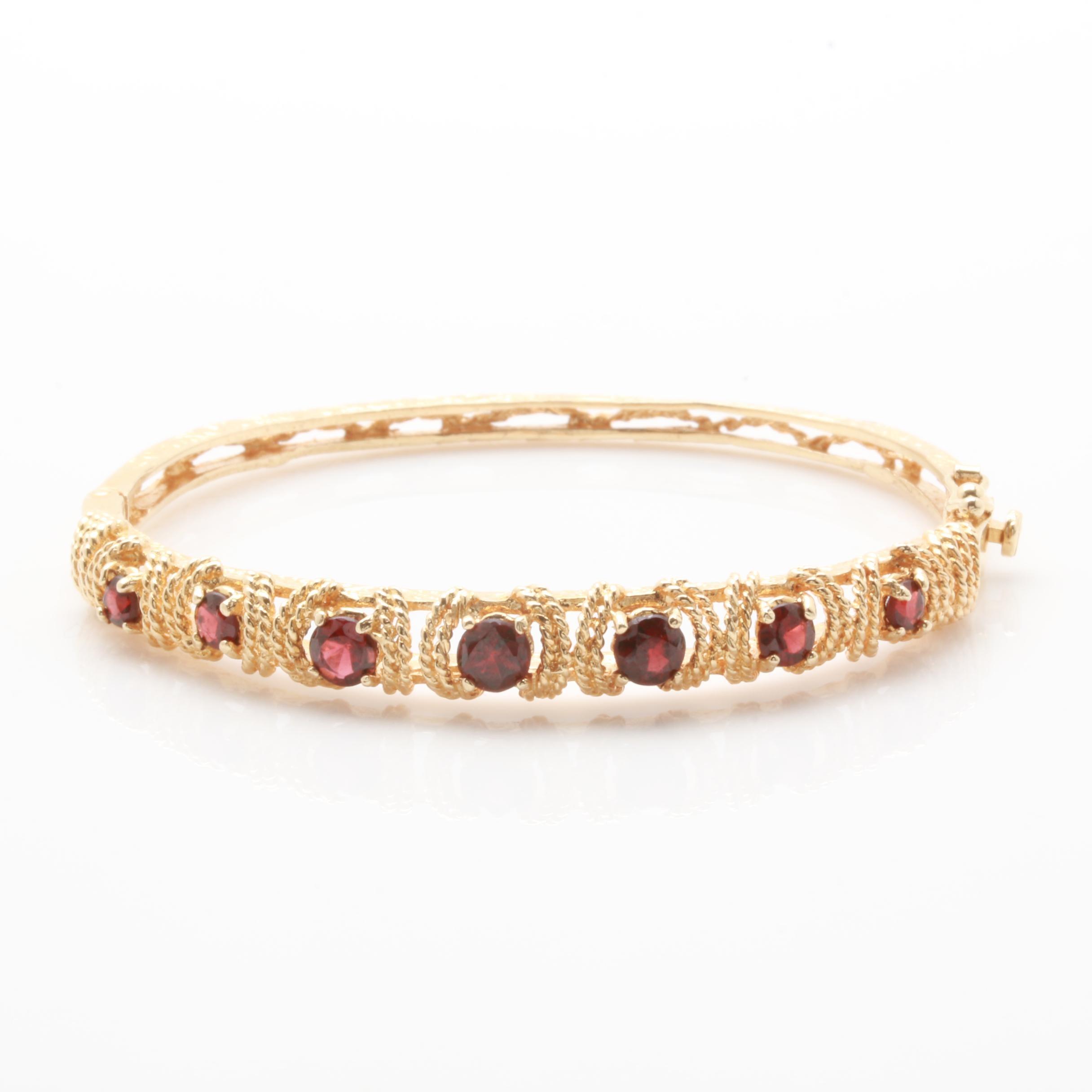 14K Yellow Gold Garnet Bangle Bracelet