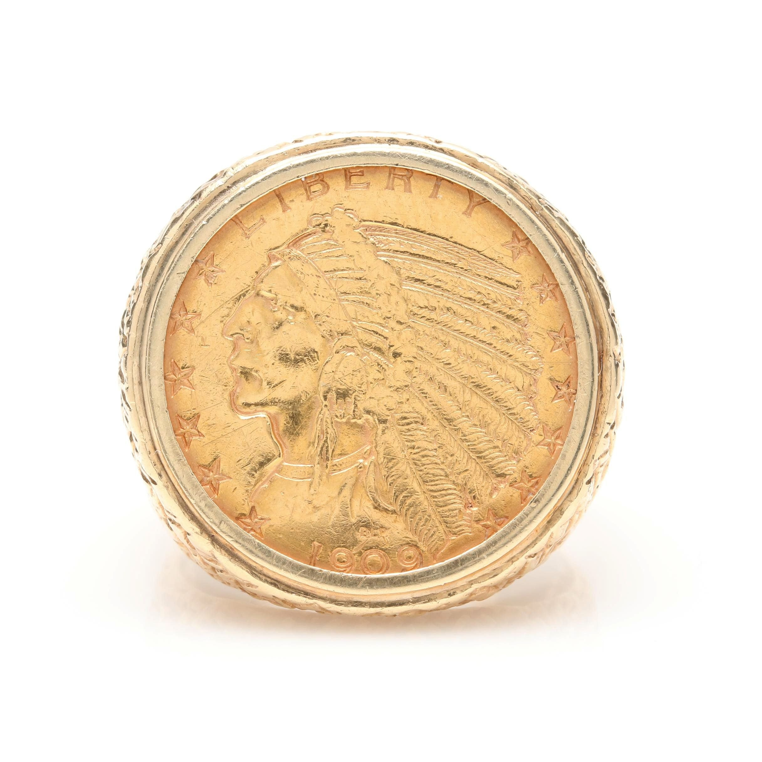 14K Yellow Gold Ring with 1909 Indian Head $5 Gold Half Eagle Coin