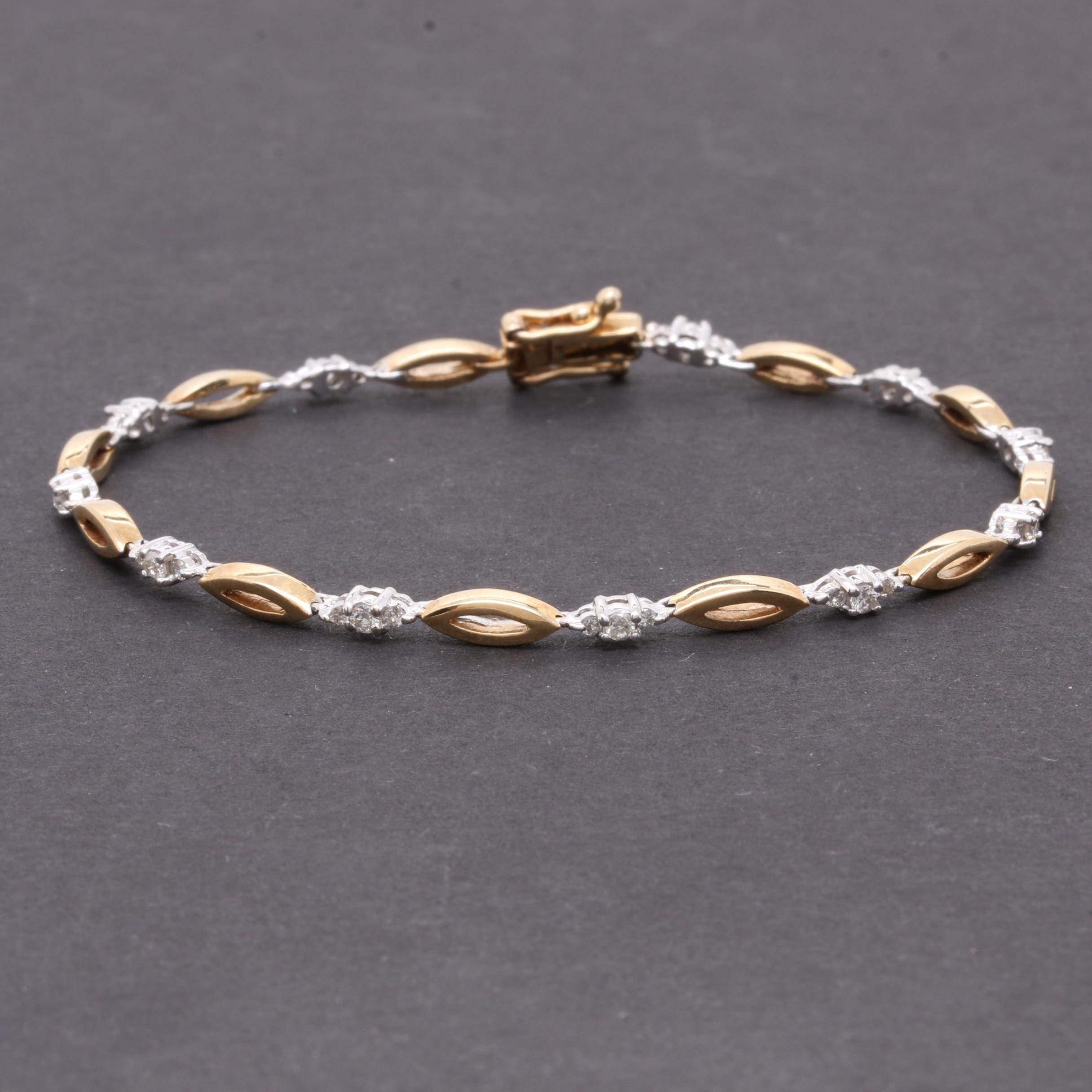 14K Yellow and White Gold Diamond Bracelet