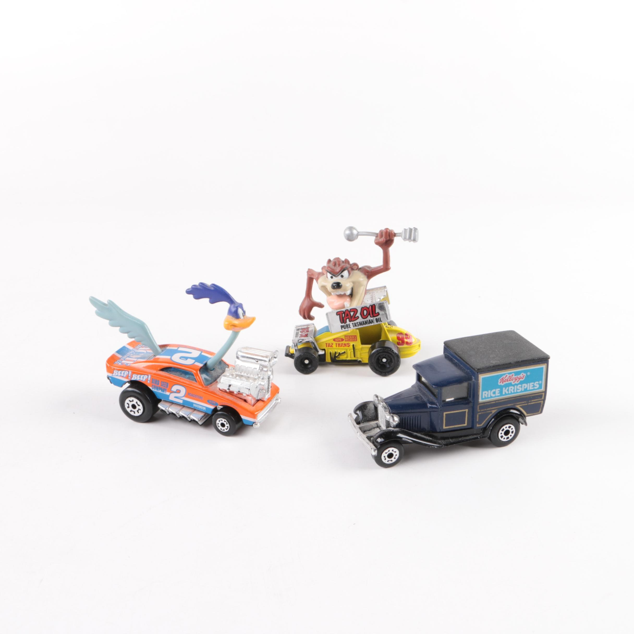 Road Runner, Tasmanian Devil, and Kellogg's Collectible Matchbox Cars