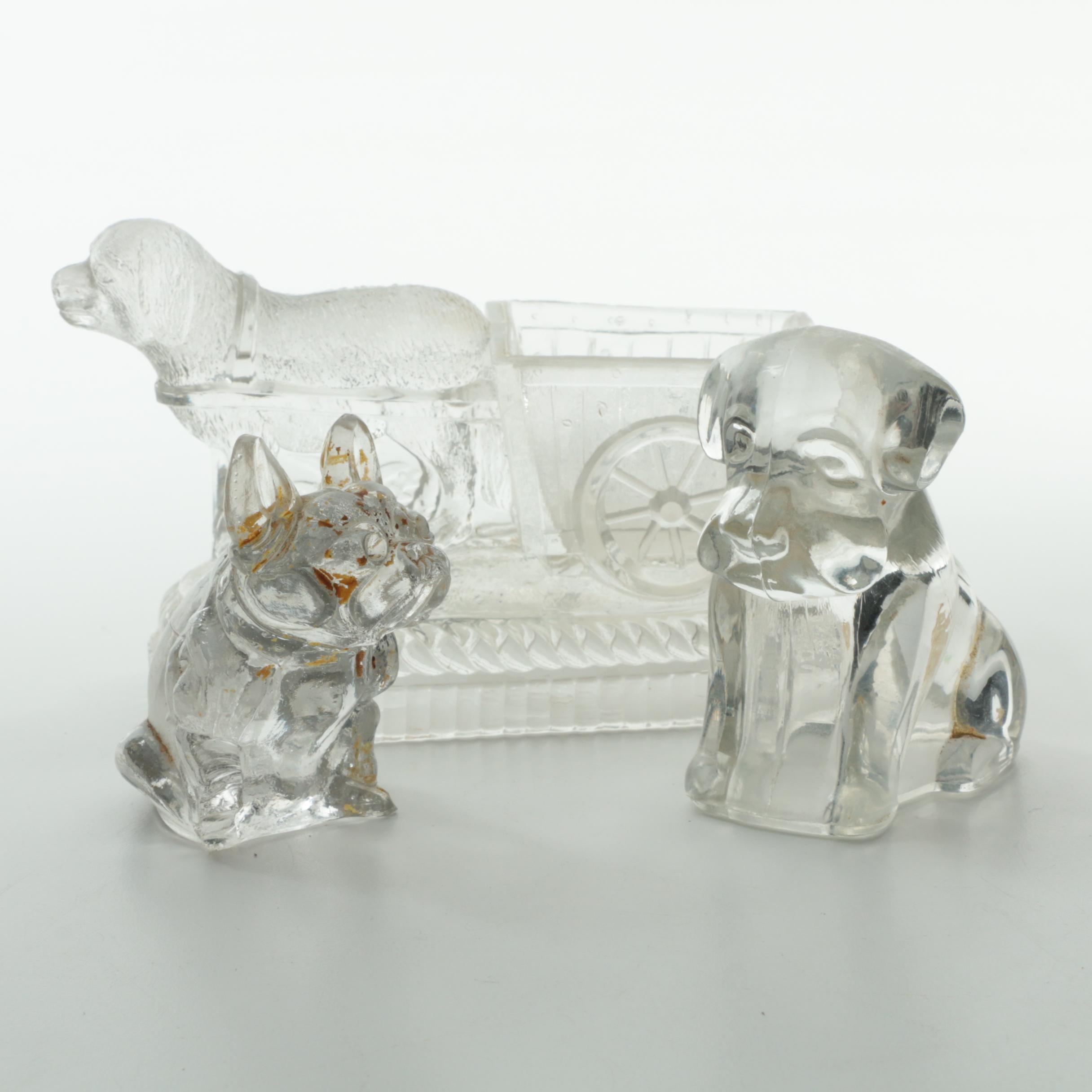 Three Vintage Clear Glass Dog Figurines