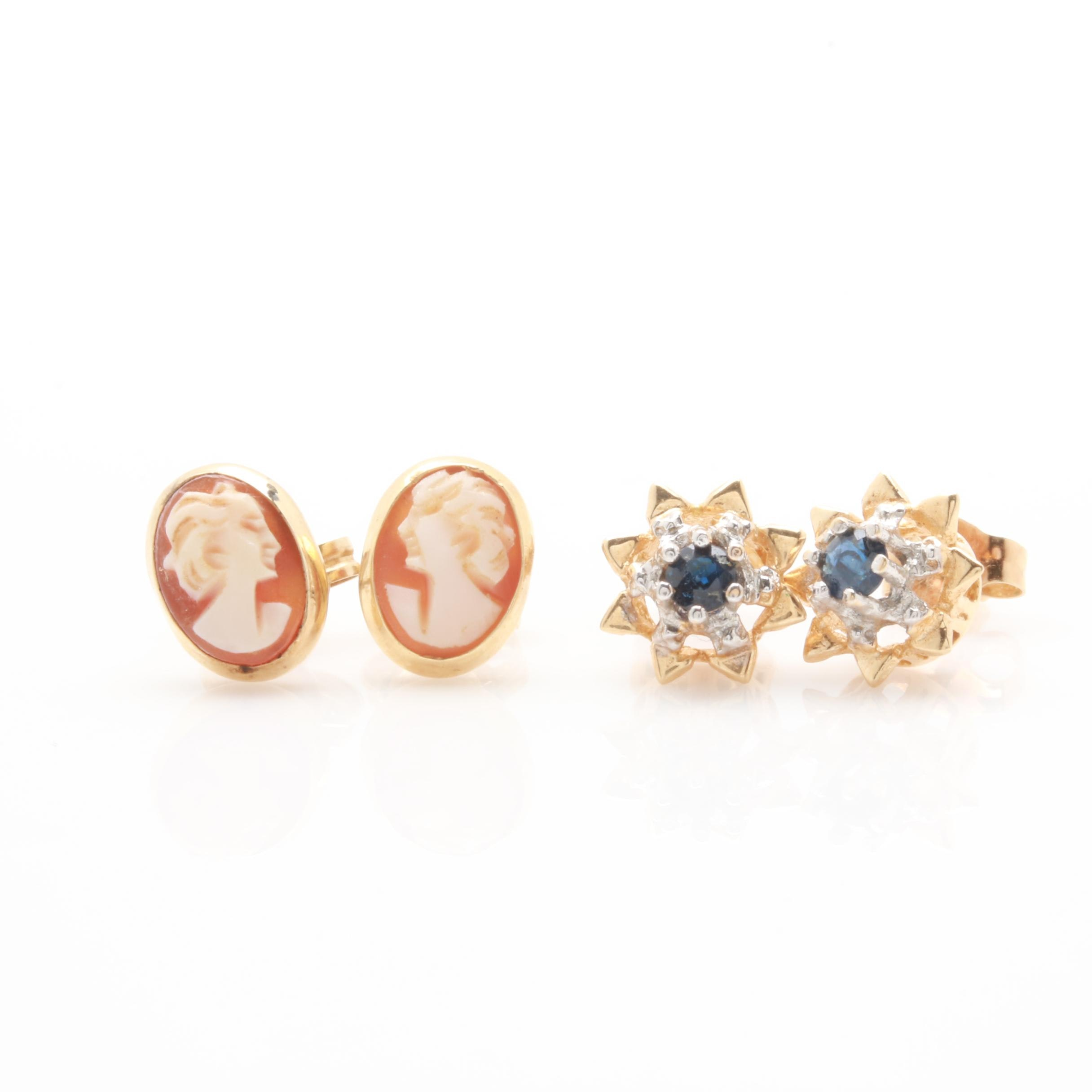 14K Yellow Gold Earring Assortment Including Shell Cameos and Blue Sapphires