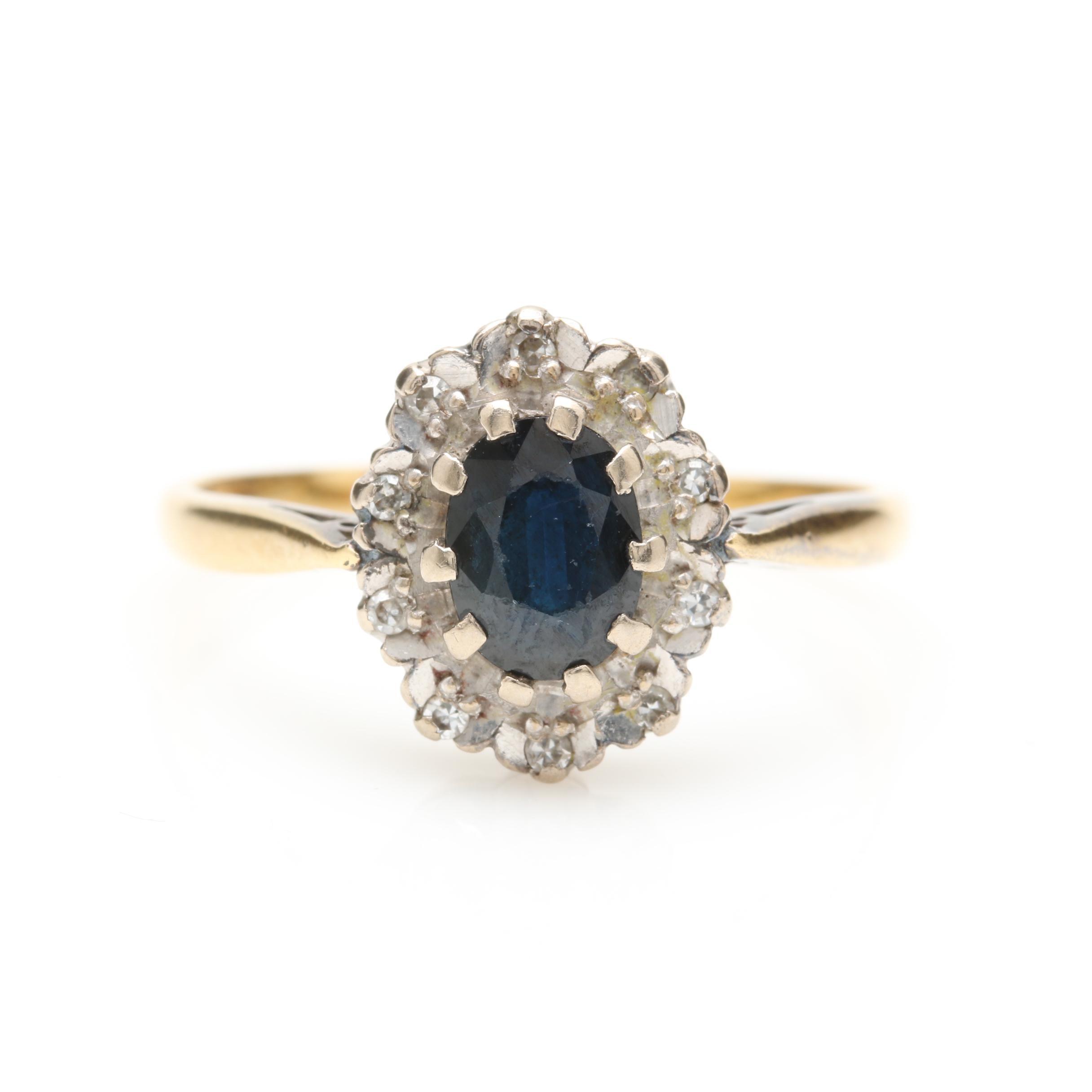 Circa 1976 18K Yellow Gold Sapphire and Diamond Ring