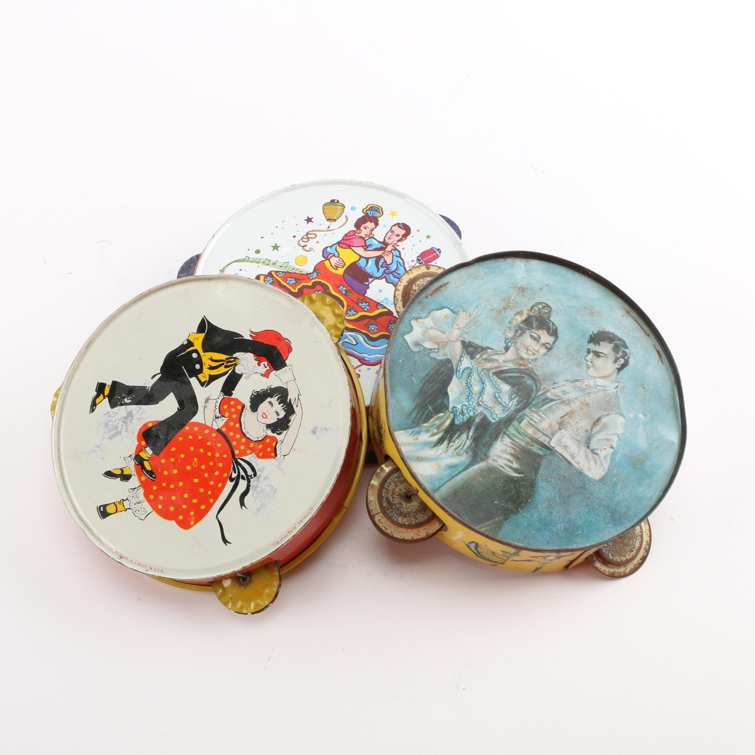 Vintage Tin Tambourines, Including Kirchhof