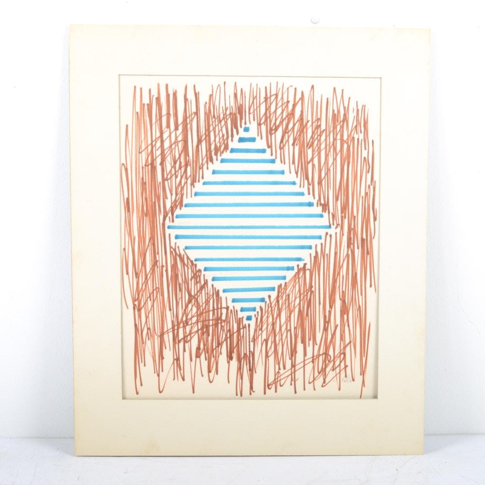 "James Yoko Ink on Paper ""Blue Diamond"""