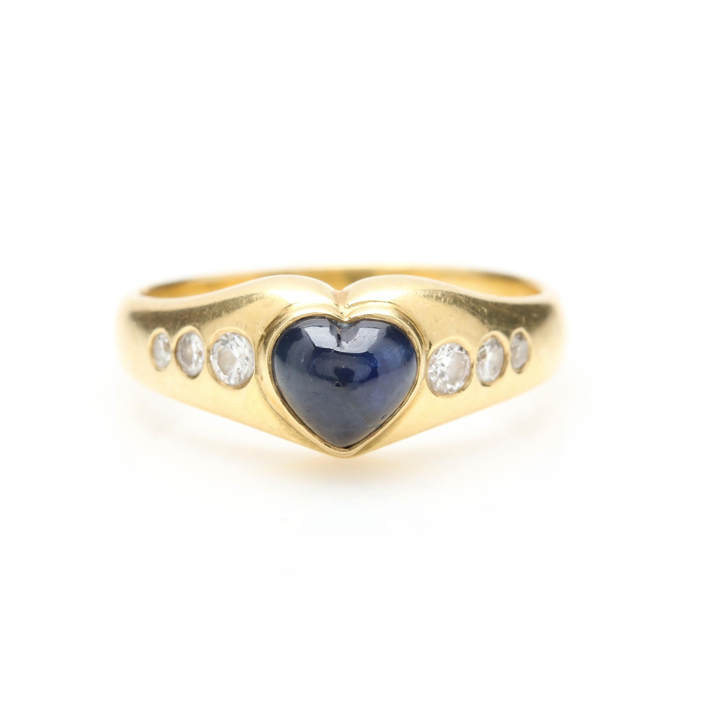 18K Yellow Gold Sapphire and Diamond Heart Ring