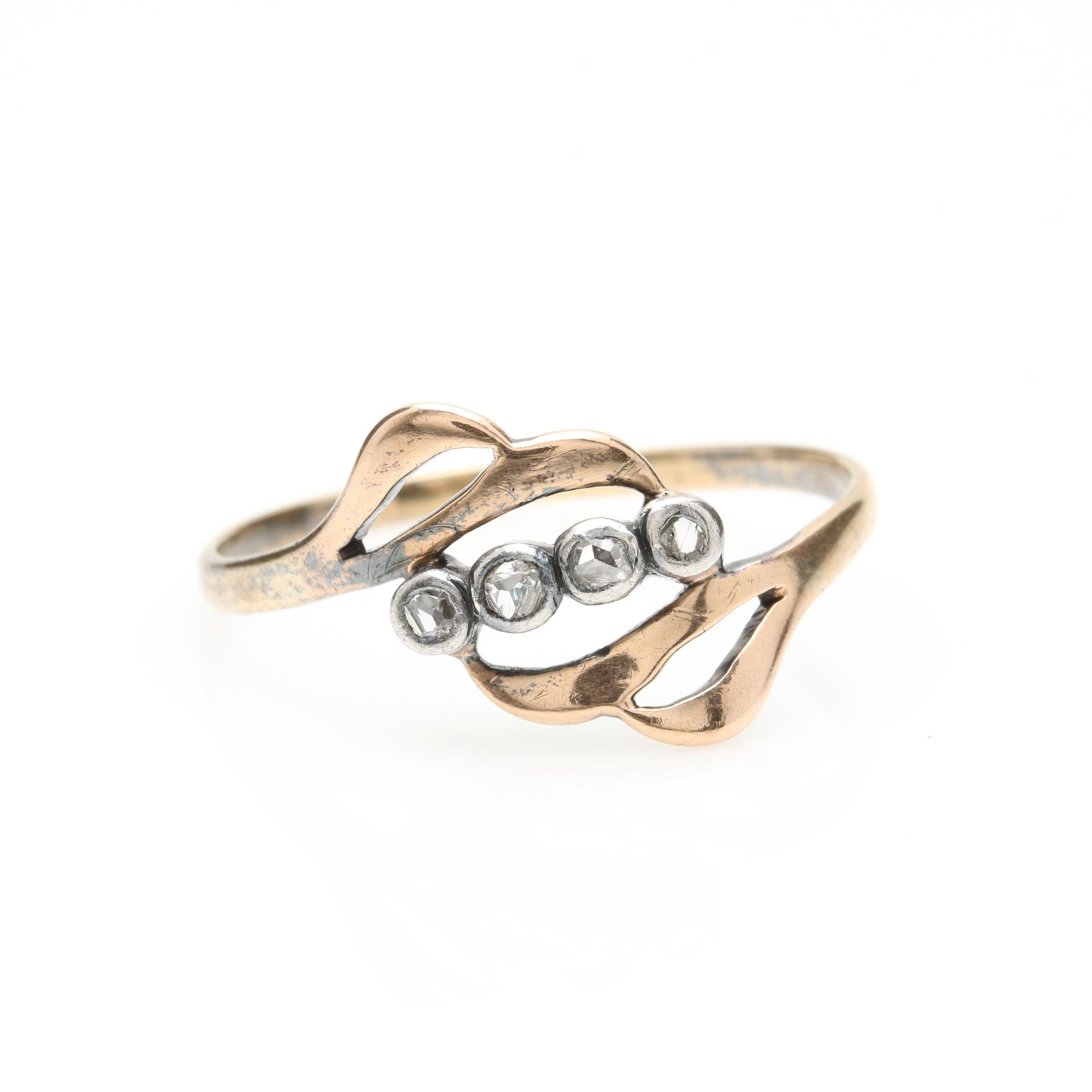 14K Yellow Gold Diamond Ring with Sterling Silver Accent