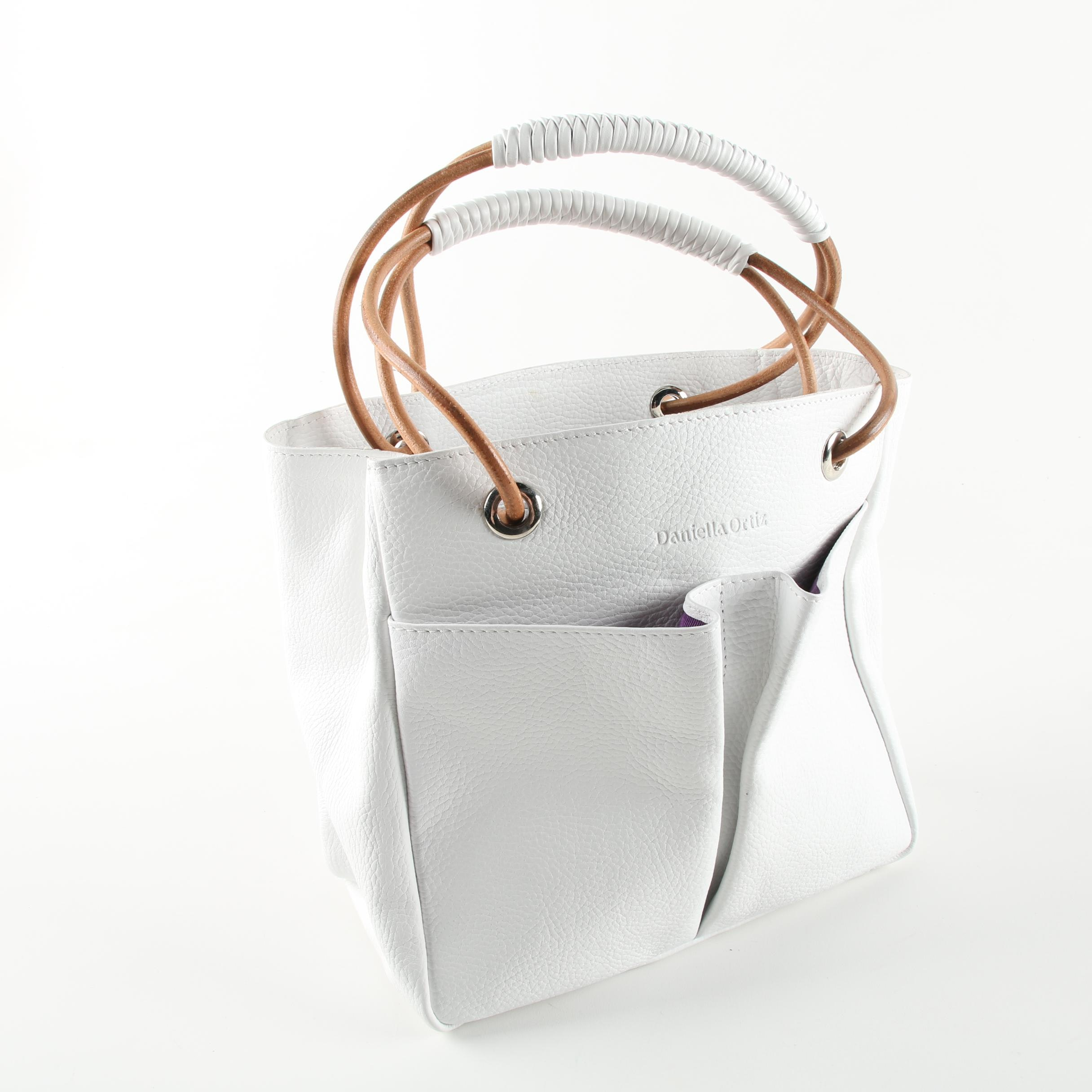 Daniella Ortiz Luz White Leather Handbag