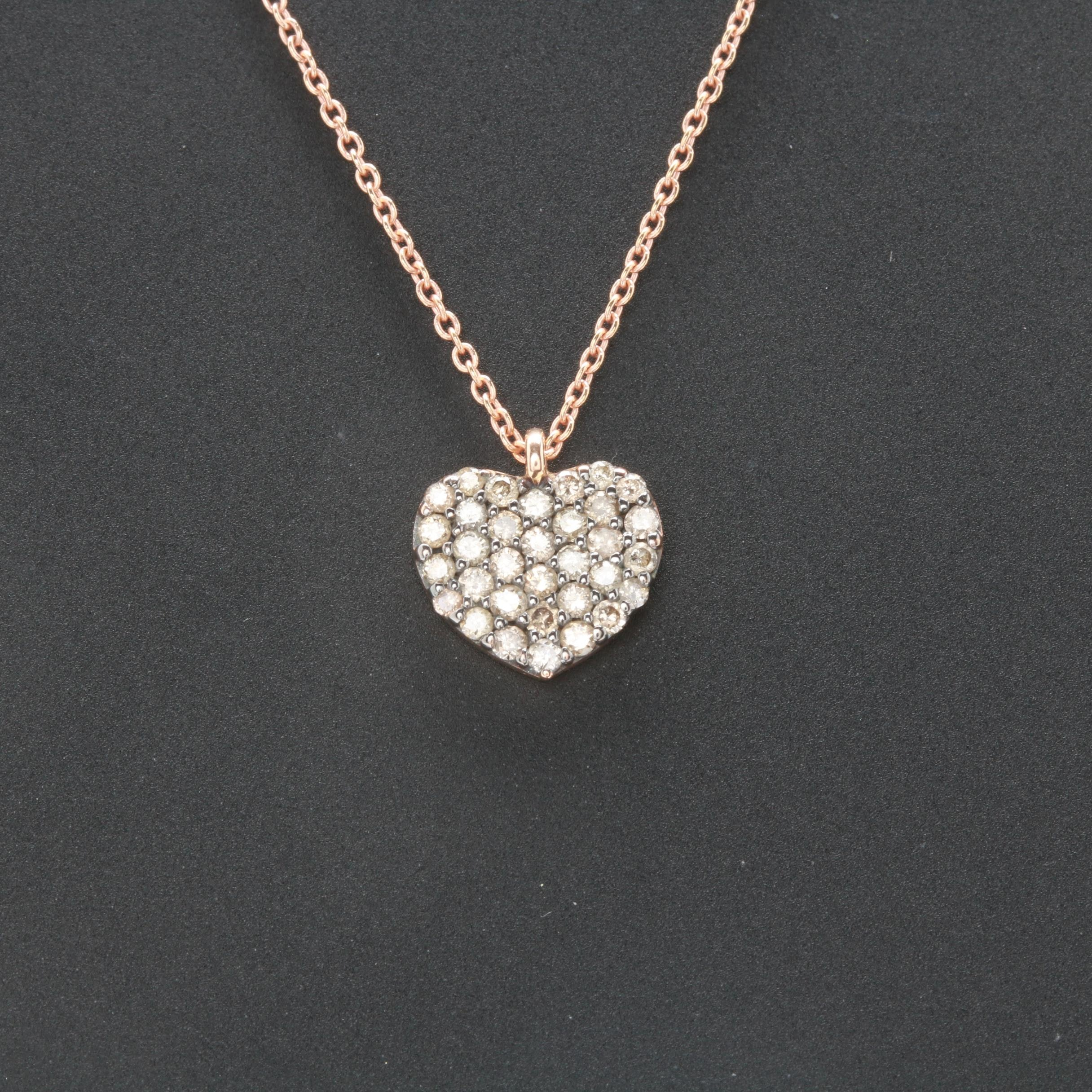 18K Rose Gold Diamond Heart Necklace