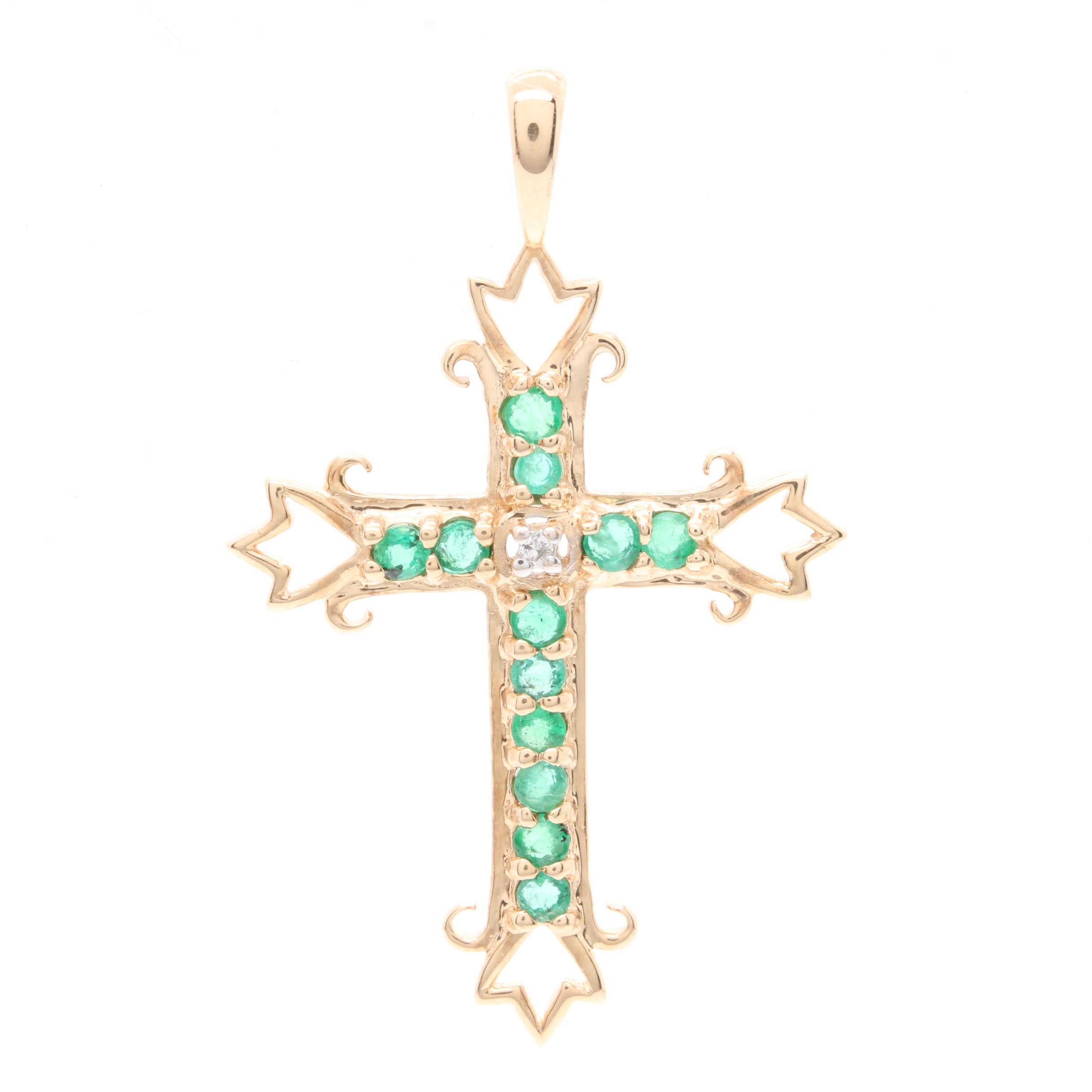 14K Yellow Gold Emerald and Diamond Crux Gemmata Cross Pendant