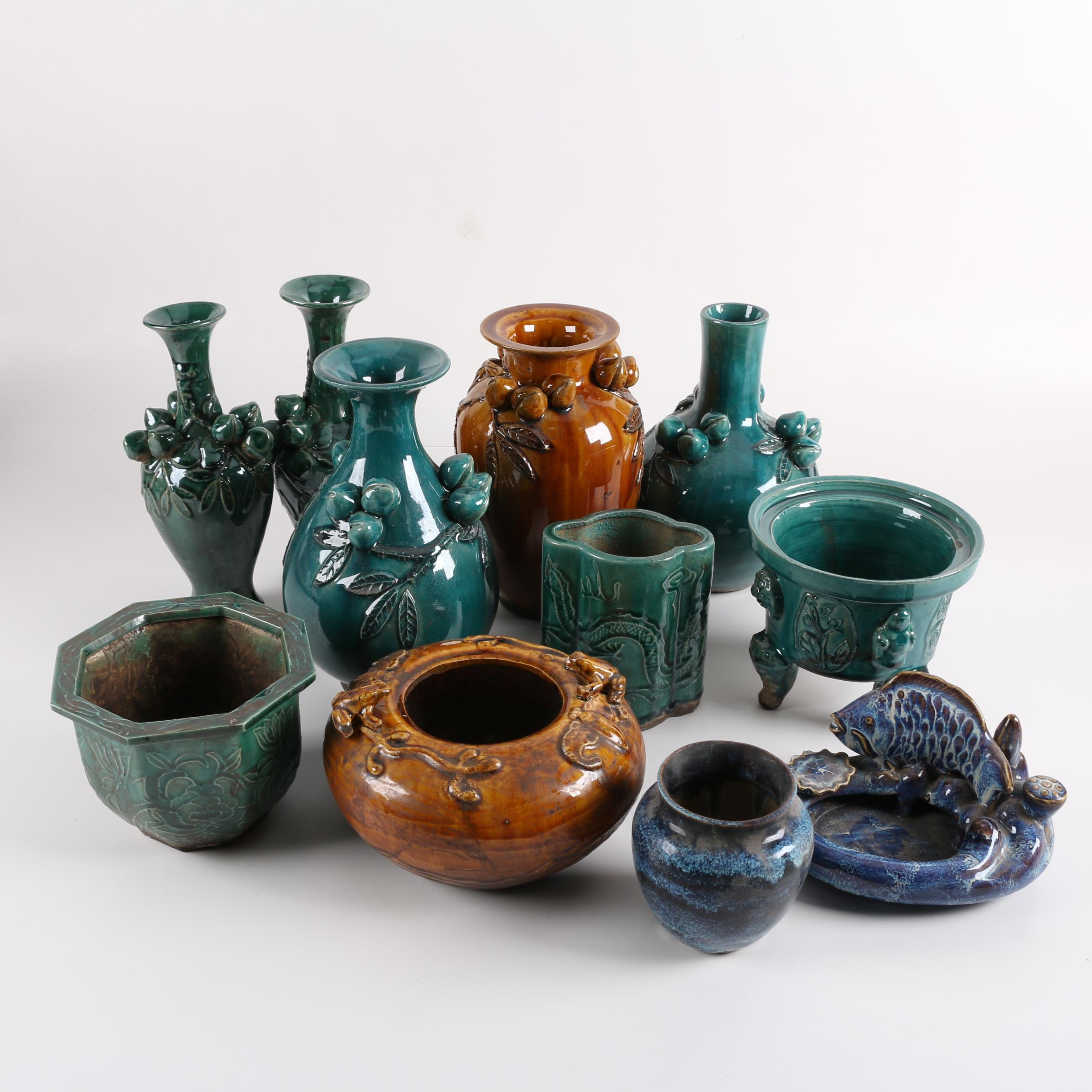 Chinese Ceramic Majolica-Style Vases and Planters