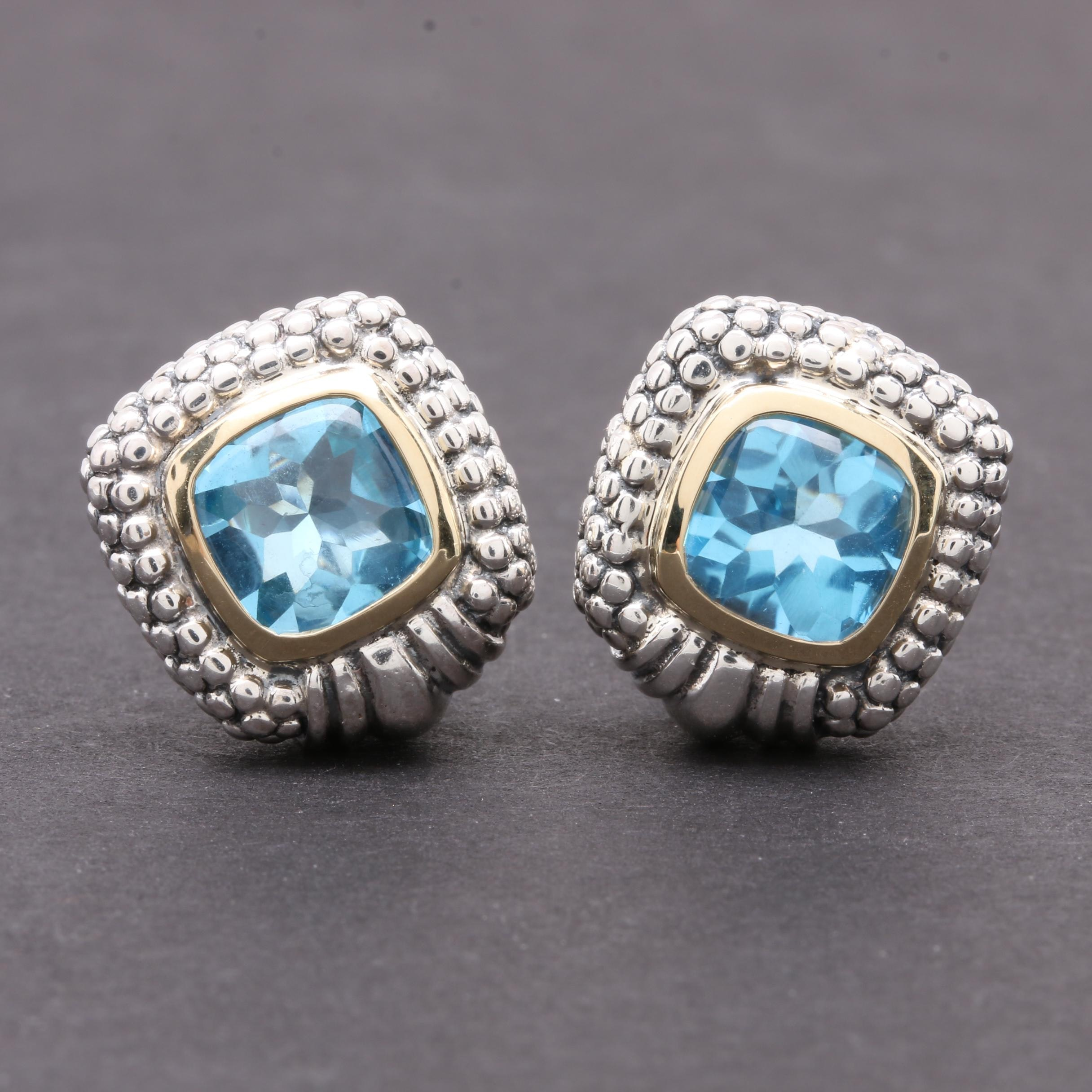 Sterling Silver Topaz Earrings with 14K Yellow Gold Accents