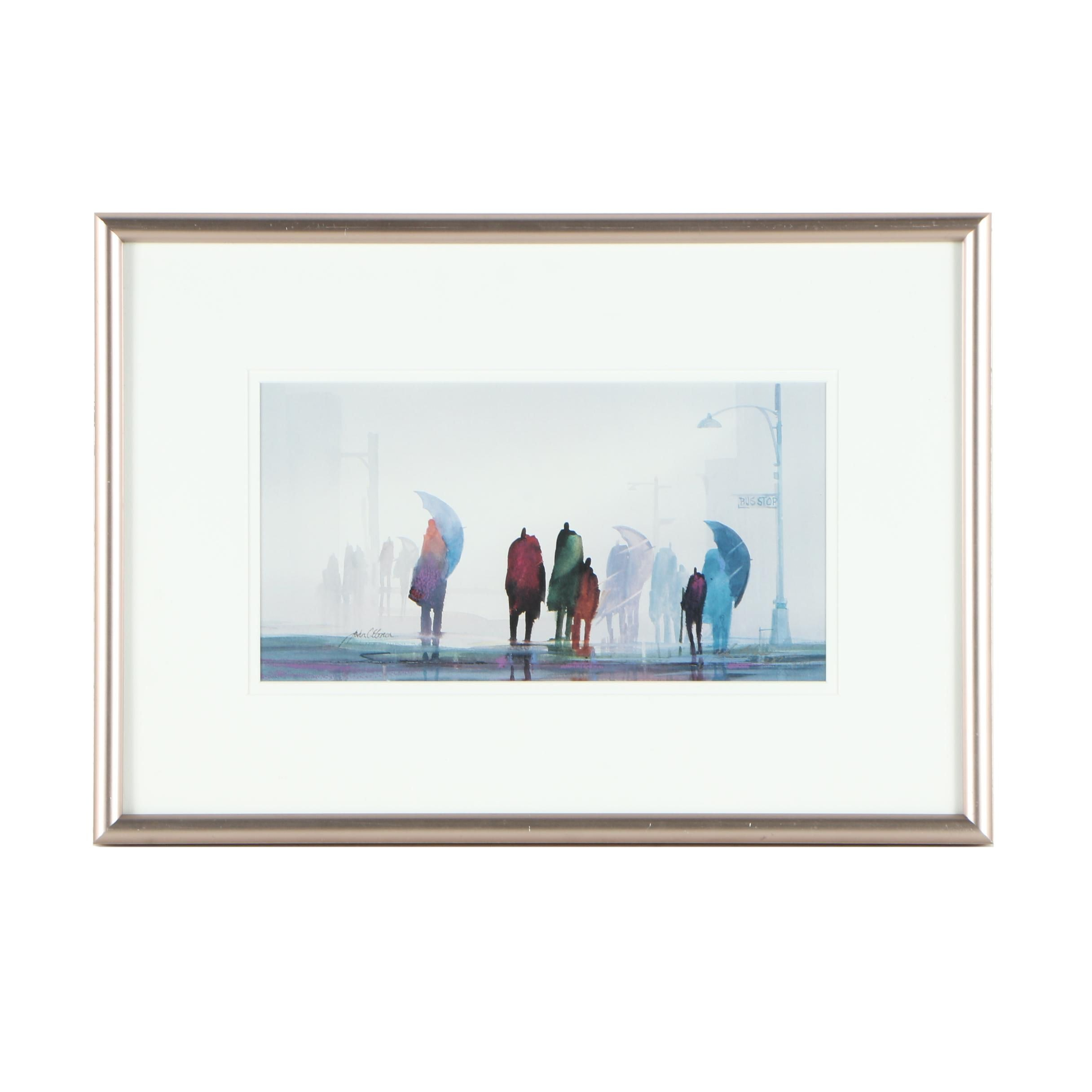 "John C. Ebner Limited Edition Offset Lithograph ""Rain People"""
