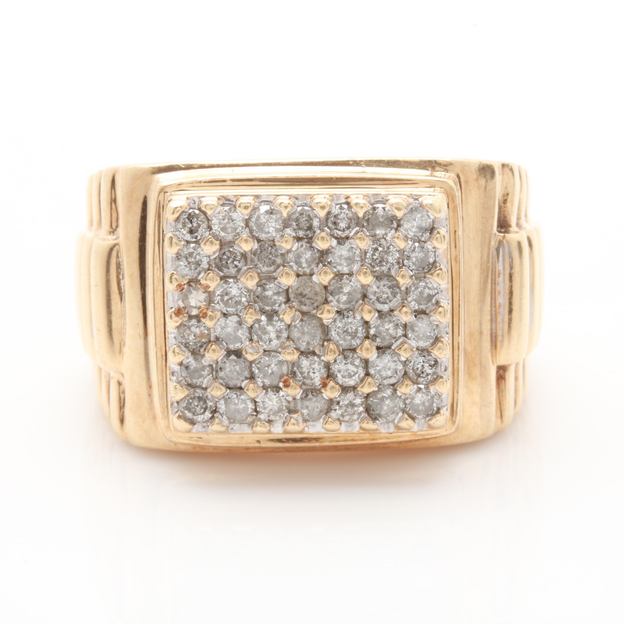 14K Yellow Gold 1.05 CTW Diamond Cluster Band