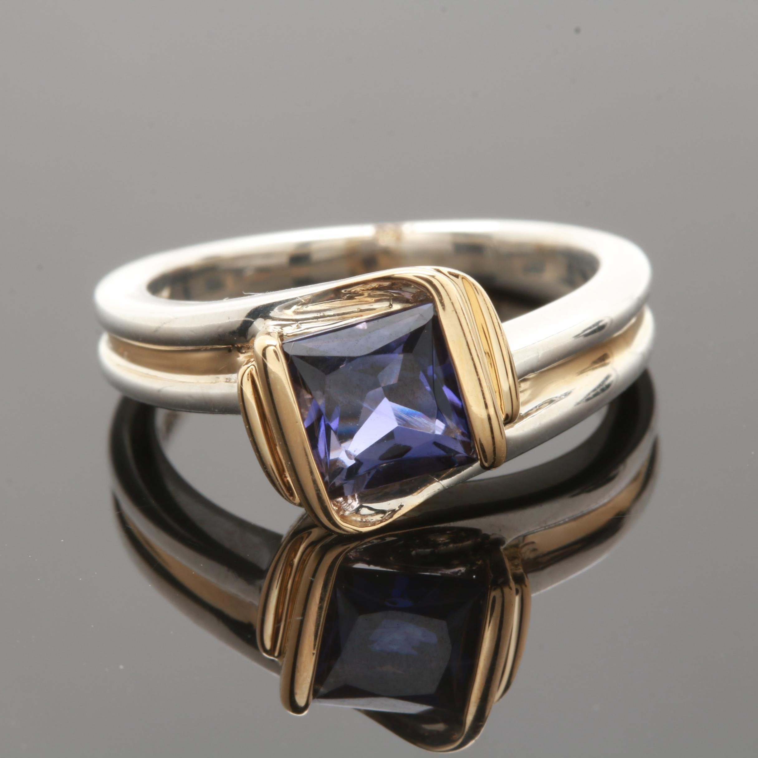 Sterling Silver Iolite Ring with 18K Accents