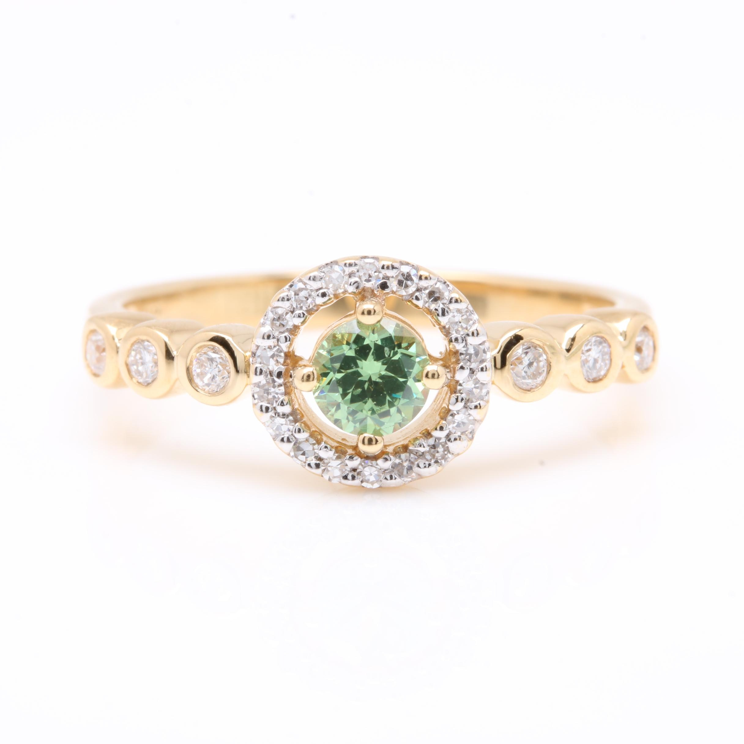 18K Yellow Gold Demantoid Garnet and Diamond Ring