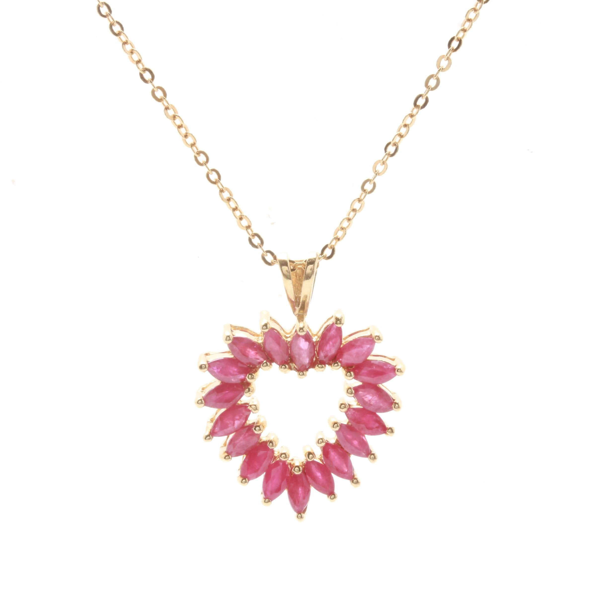 14K Yellow Gold Ruby Heart Pendant Necklace