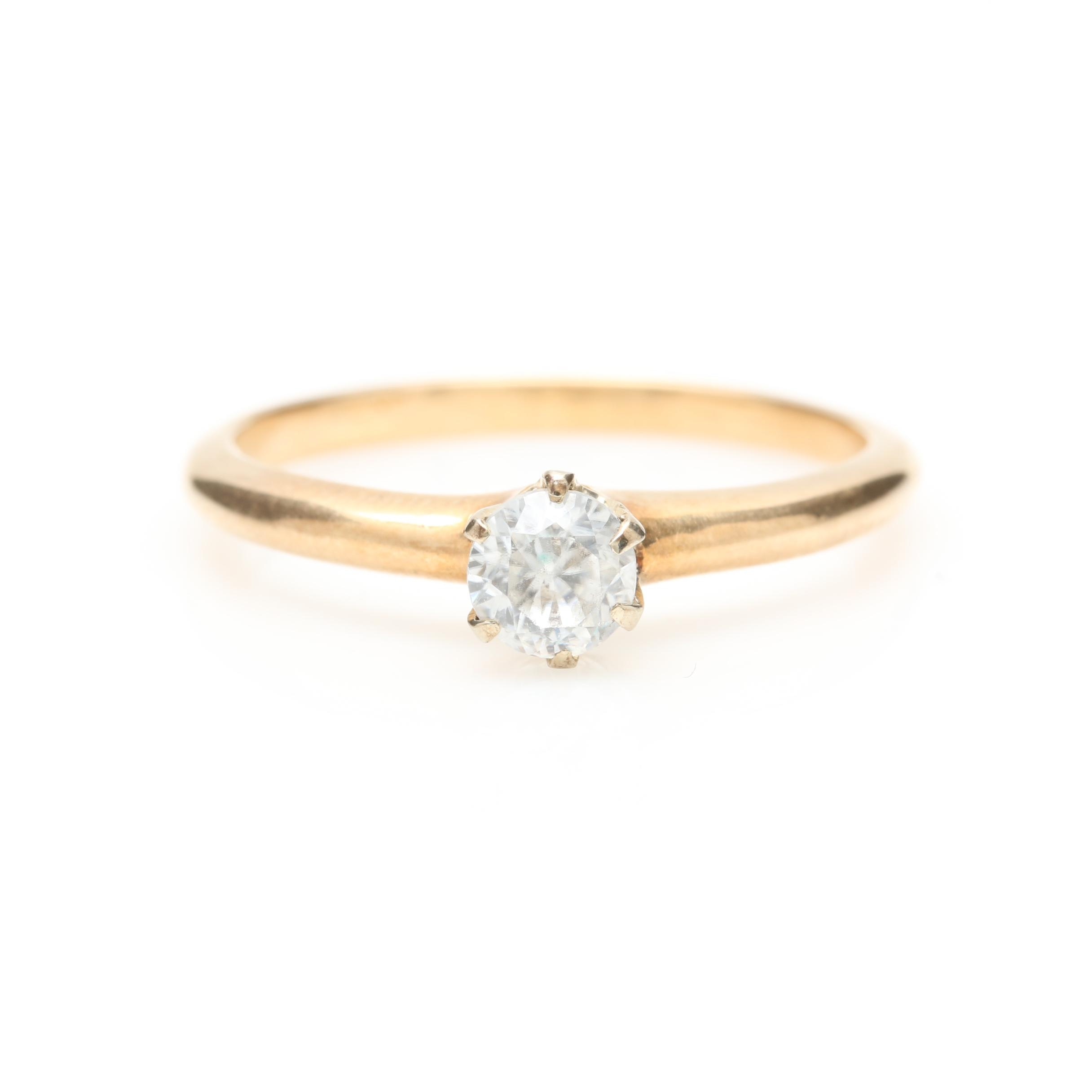 14K Yellow Gold Zircon Solitaire Ring