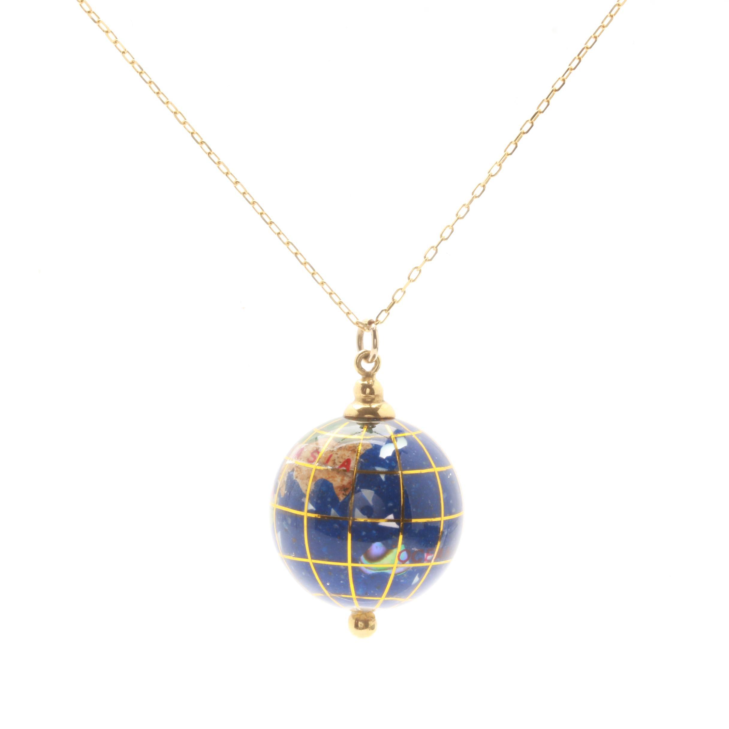 18K Yellow Gold Gemstone Globe Necklace Including Abalone